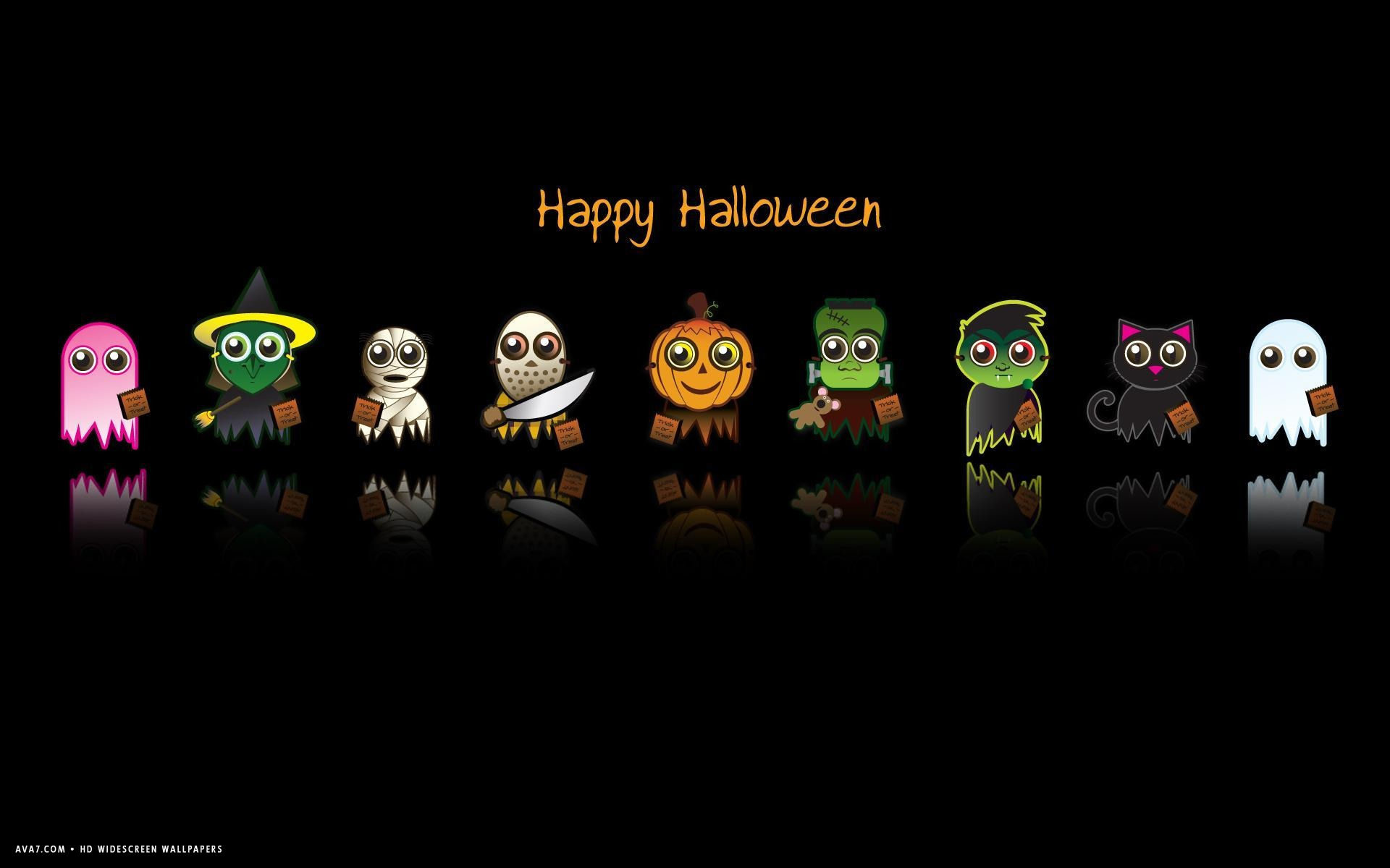 Res: 1920x1200, happy halloween funny characters pumpkin ghost vampire zombie holiday hd  widescreen wallpaper