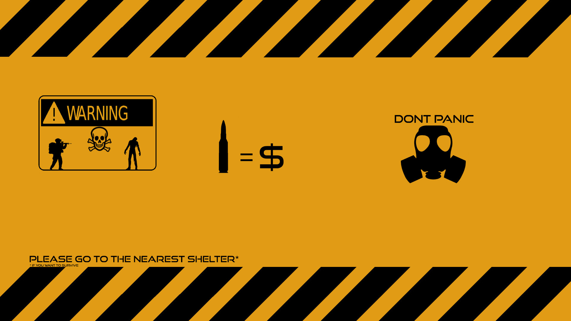 Res: 1920x1080, Humor - Funny Humor Survival Zombie Warning Gas Mask Dont Panic Wallpaper
