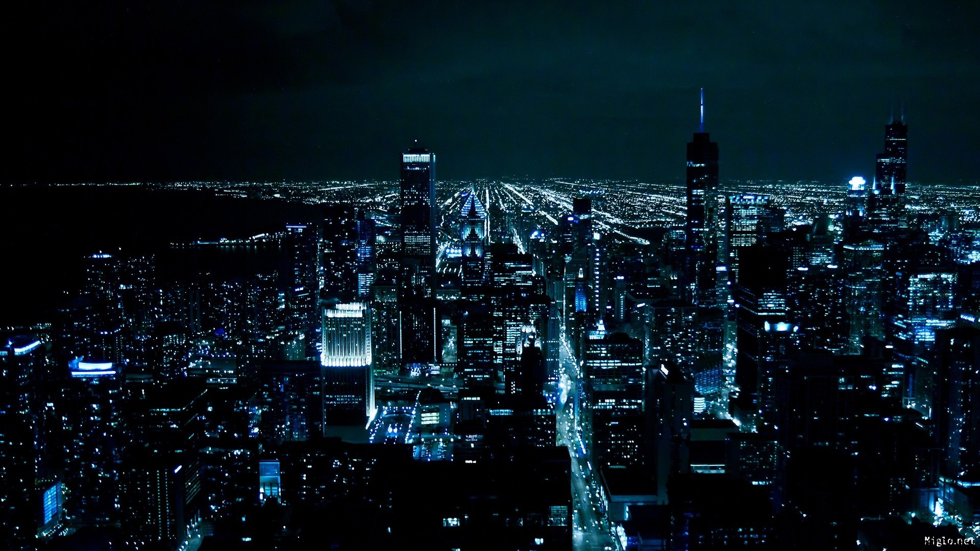 Res: 1920x1080, Man Made - Chicago Night Cityscape City Black Blue Wallpaper