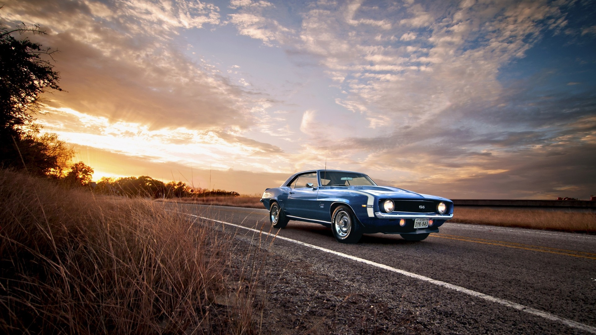 Res: 1920x1080, Download Wallpaper  ss, classic, american, camaro, chevrolet,  1969, blue Full HD 1080p HD Background