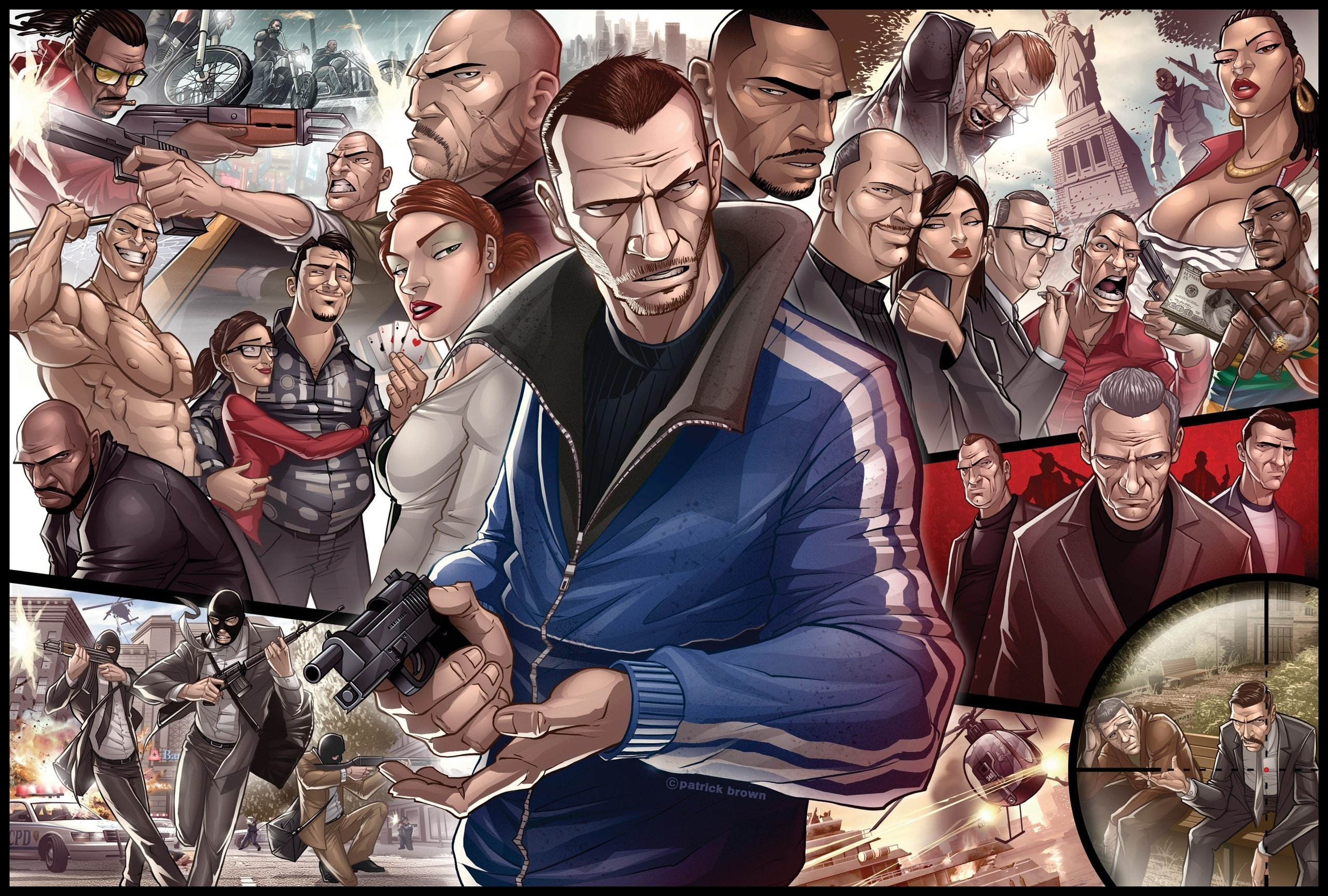 Res: 2560x1728, Grand Theft Auto, Niko Bellic, Artwork Wallpapers HD / Desktop and Mobile  Backgrounds