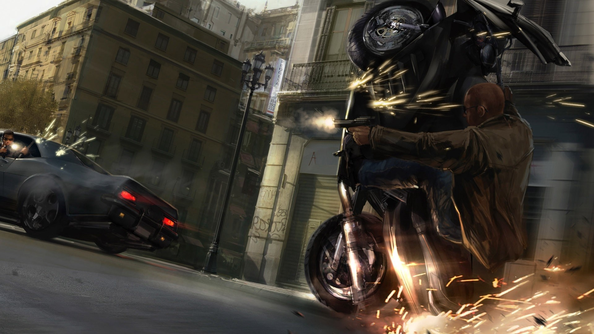 Res: 1920x1080,  Wallpaper gta, grand theft auto 4, niko bellic, motorcycle, car,