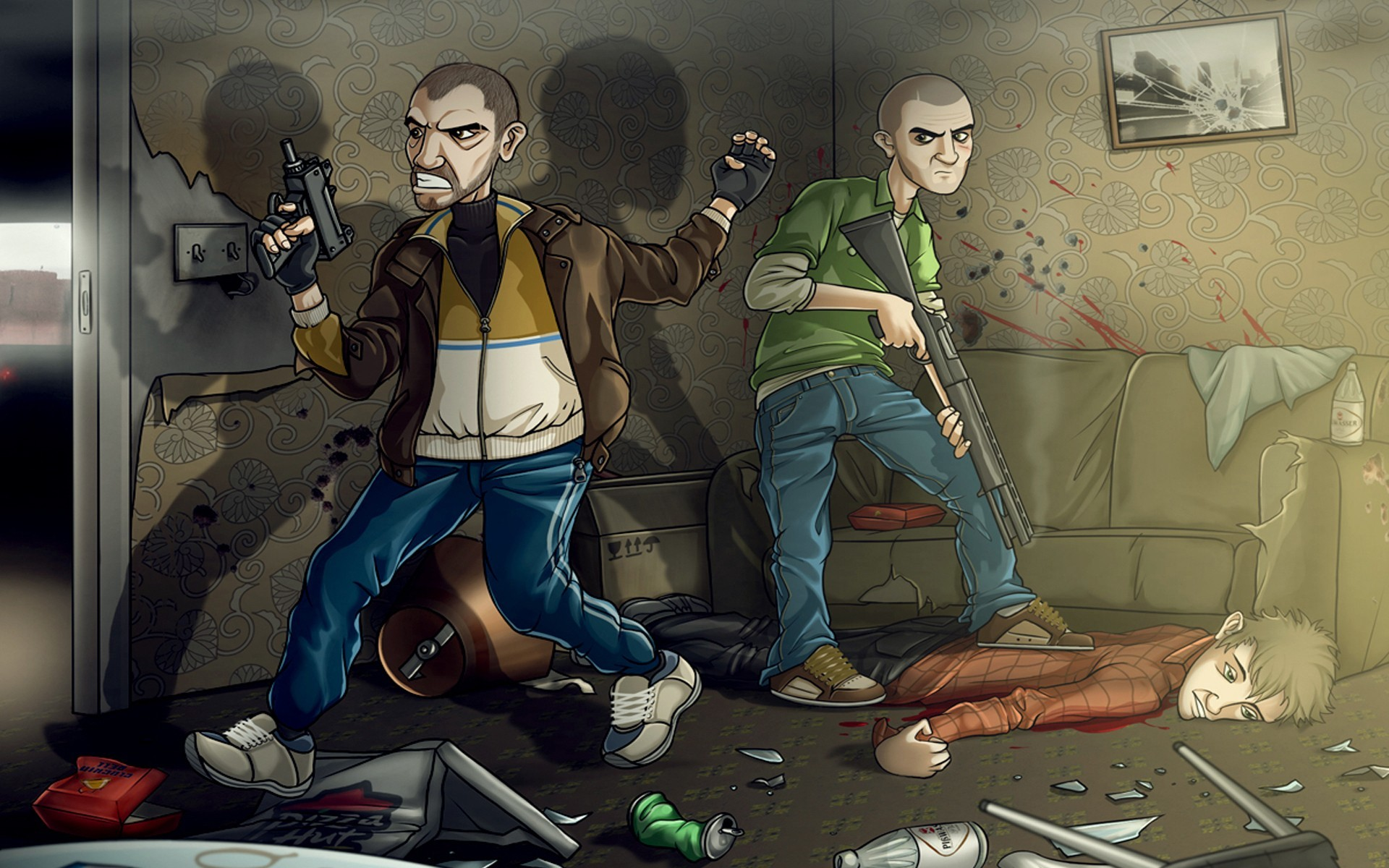 Res: 1920x1200, artwork character illustration fighting grand theft auto gta iv guns niko  bellic