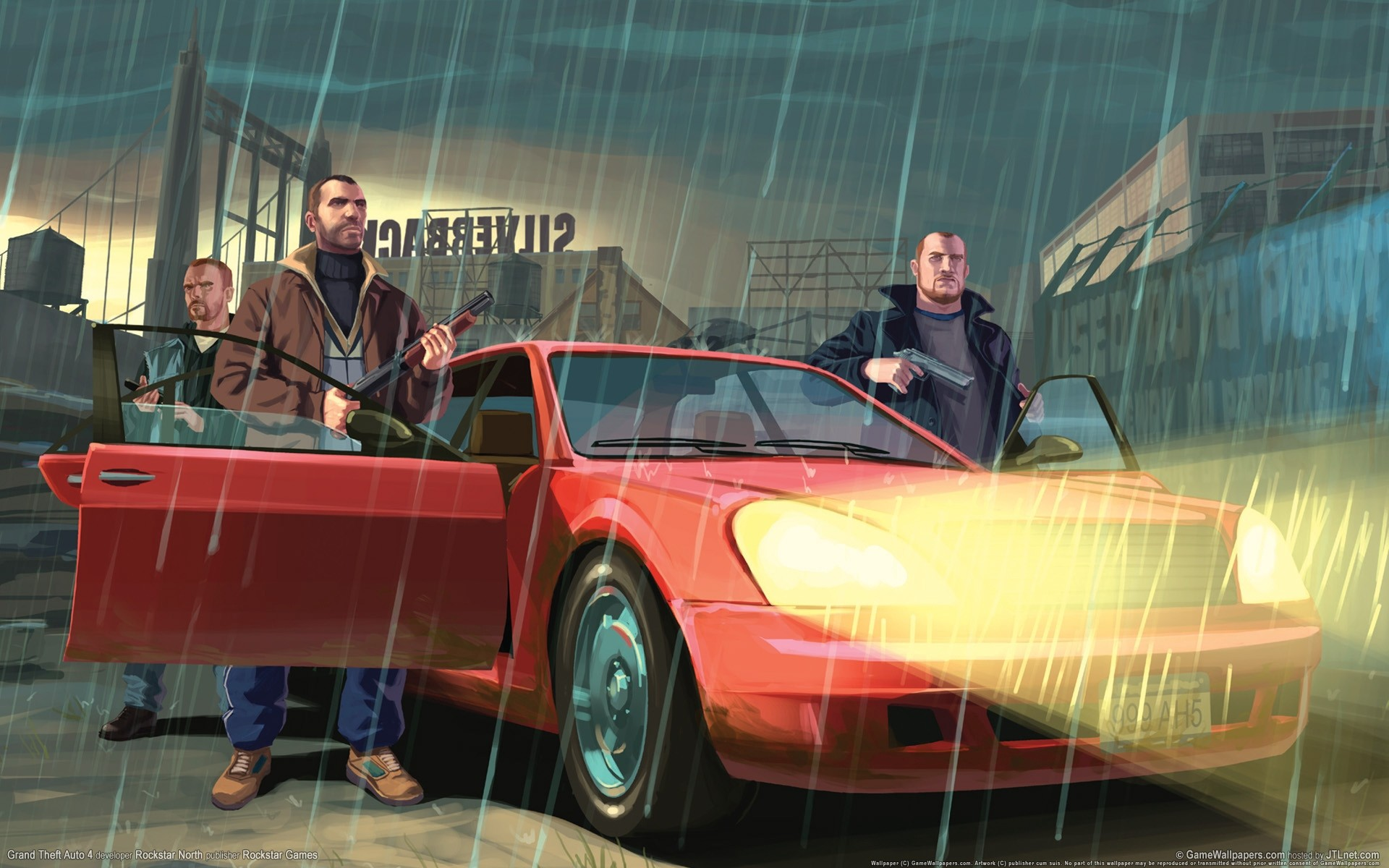 Res: 1920x1200,  Wallpaper gta, grand theft auto 4, niko bellic, car, rain