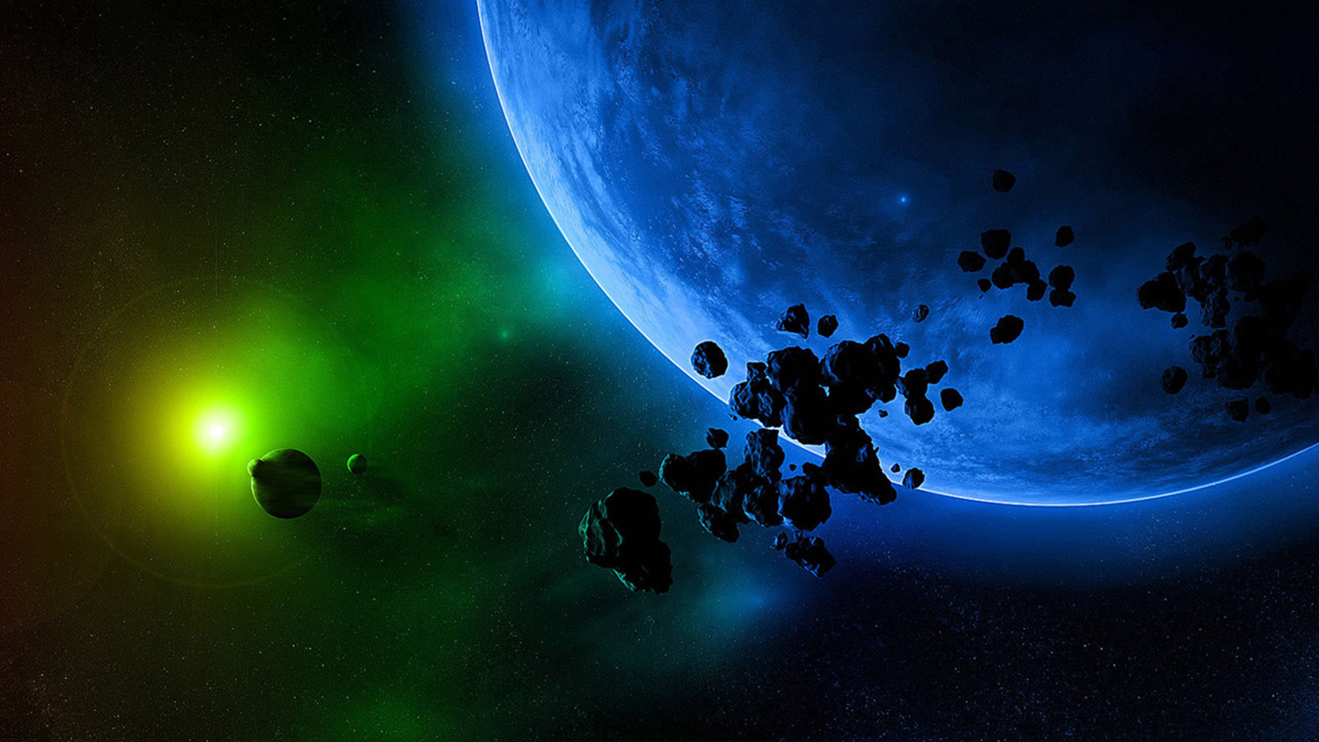Res: 1920x1080, Green And Blue Space Hd Wallpaper
