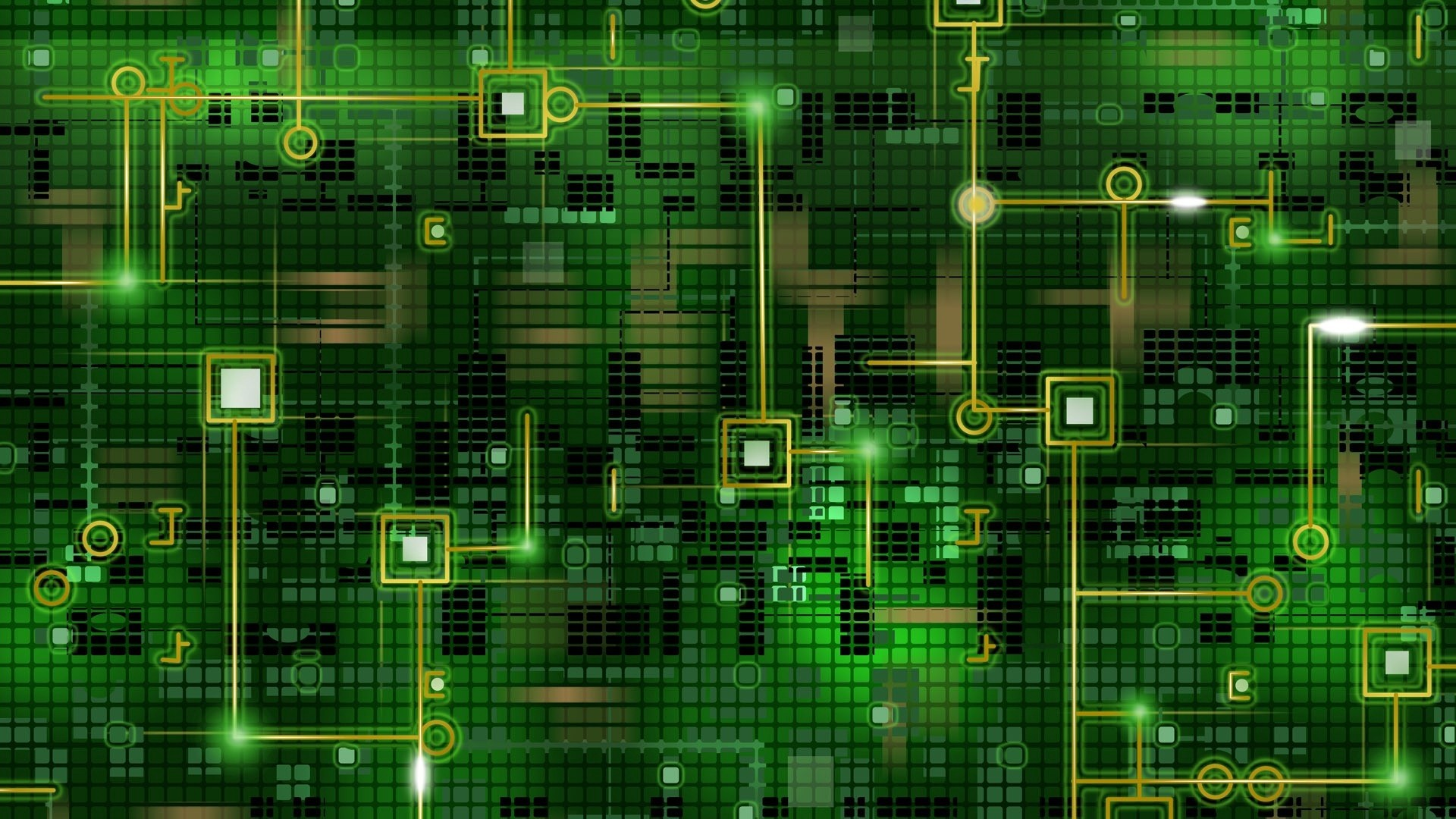 Res: 1920x1080,  Wallpaper chip, grid, background, black, green, line, circuit