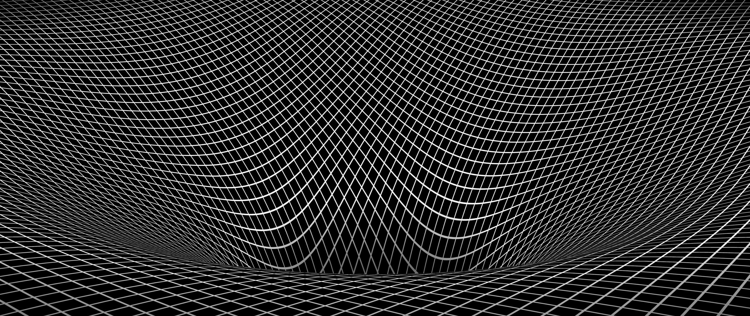 Res: 2560x1080,  Wallpaper grid, black white, shape, surface, uneven