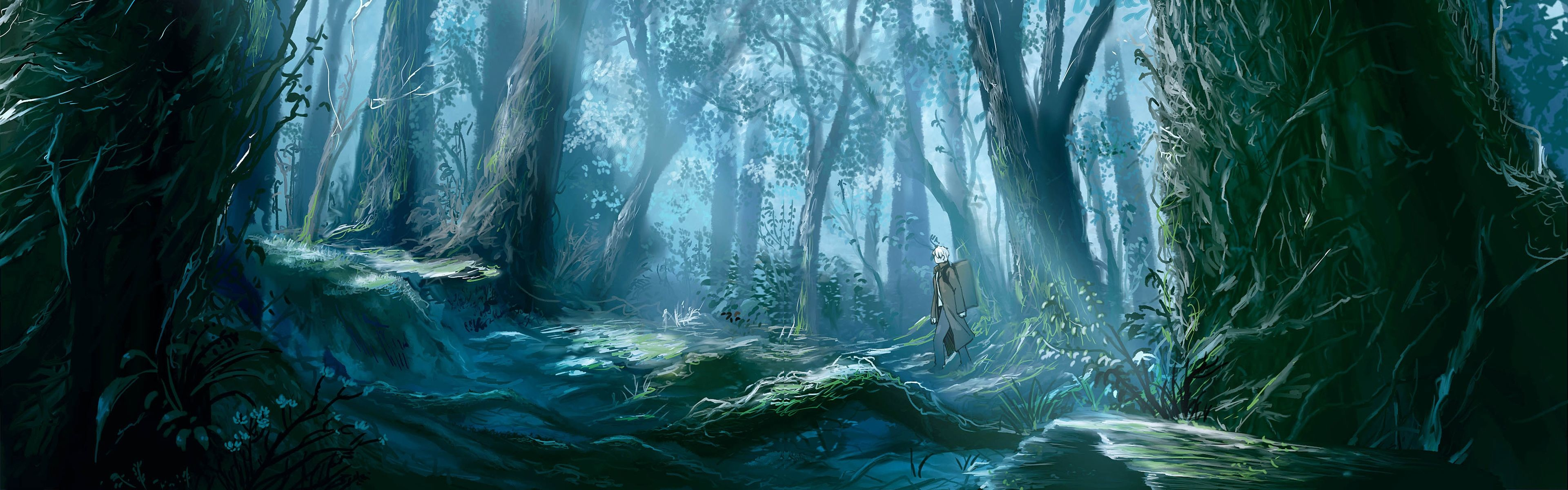 Res: 3840x1200, Mushishi wallpaper