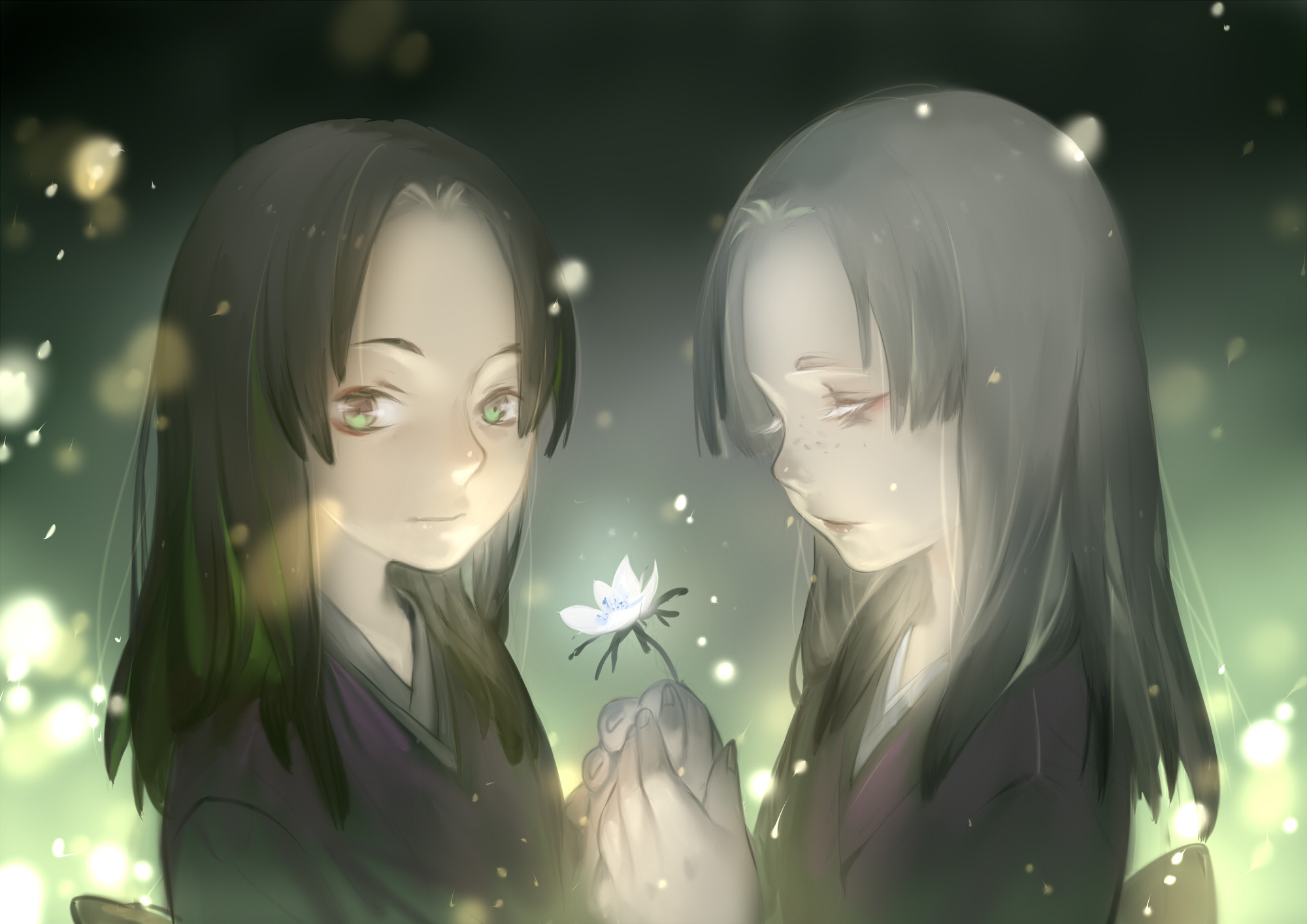 Res: 2000x1414, Mushishi girls black hair flowers gray hair green eyes japanese clothes  long hair luman mushishi wallpaper |  | 220094 | WallpaperUP