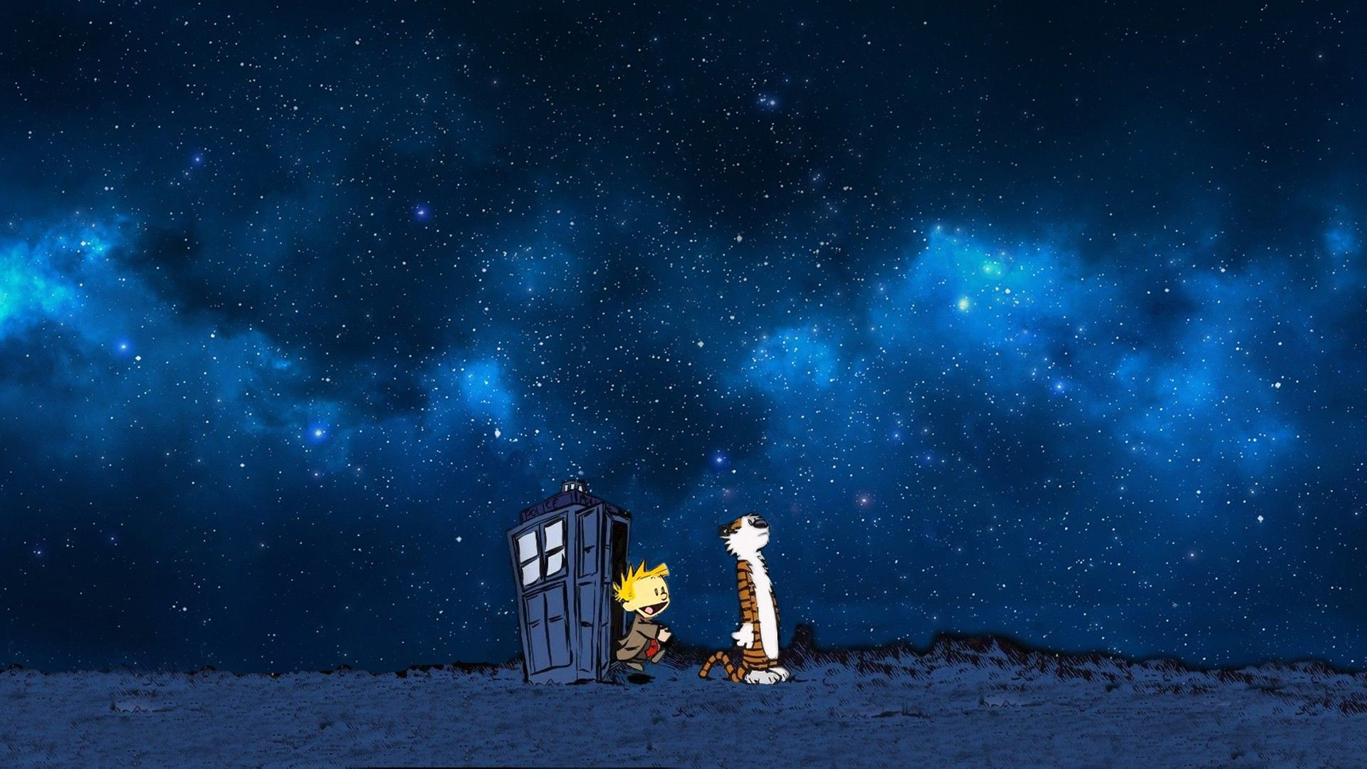 Res: 1920x1080, if you need a wallpaper of Calvin and Hobbes using the TARDIS, I've