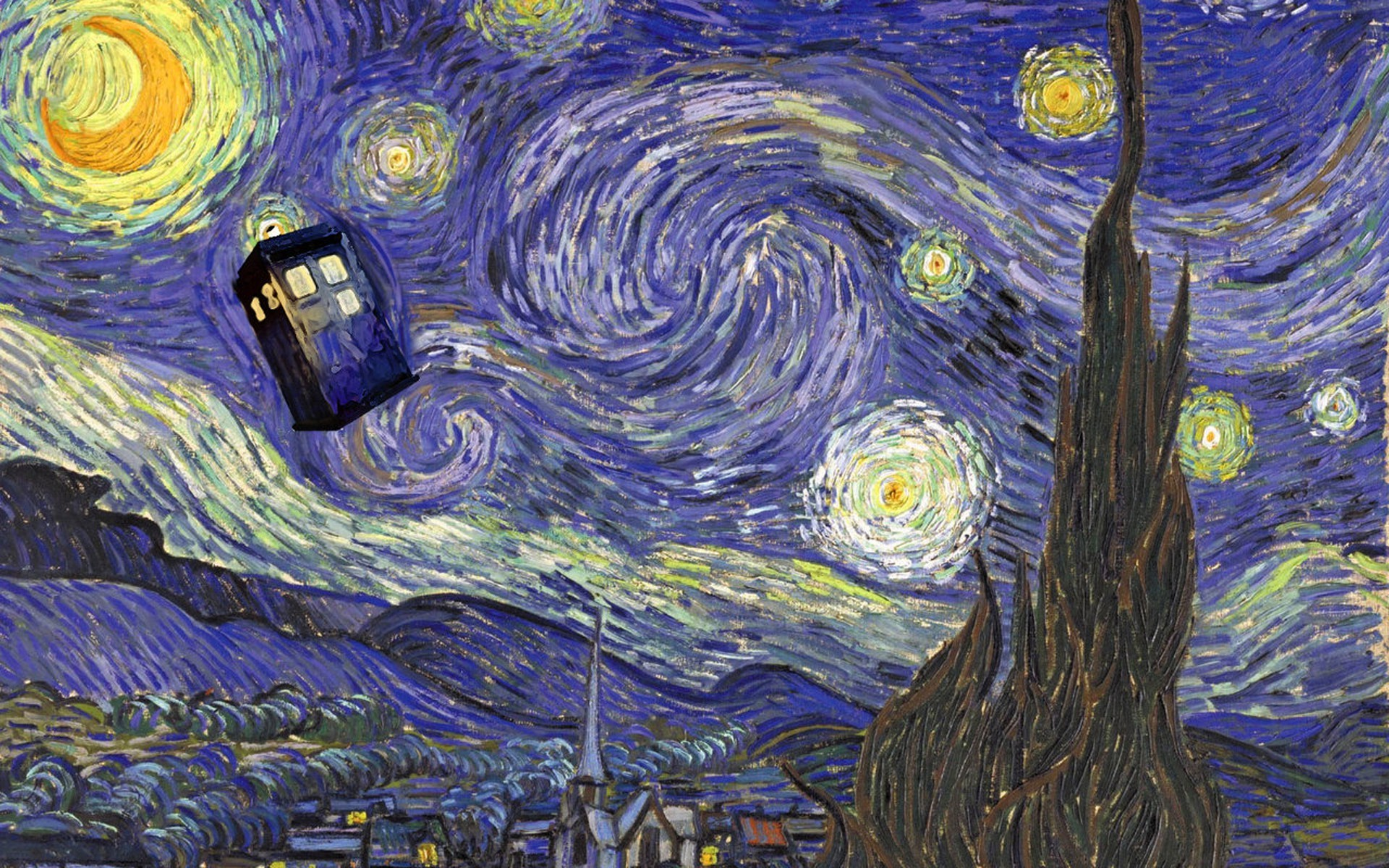 Res: 1920x1200, Doctor Who, Vincent Van Gogh, TARDIS Wallpapers HD / Desktop and Mobile  Backgrounds