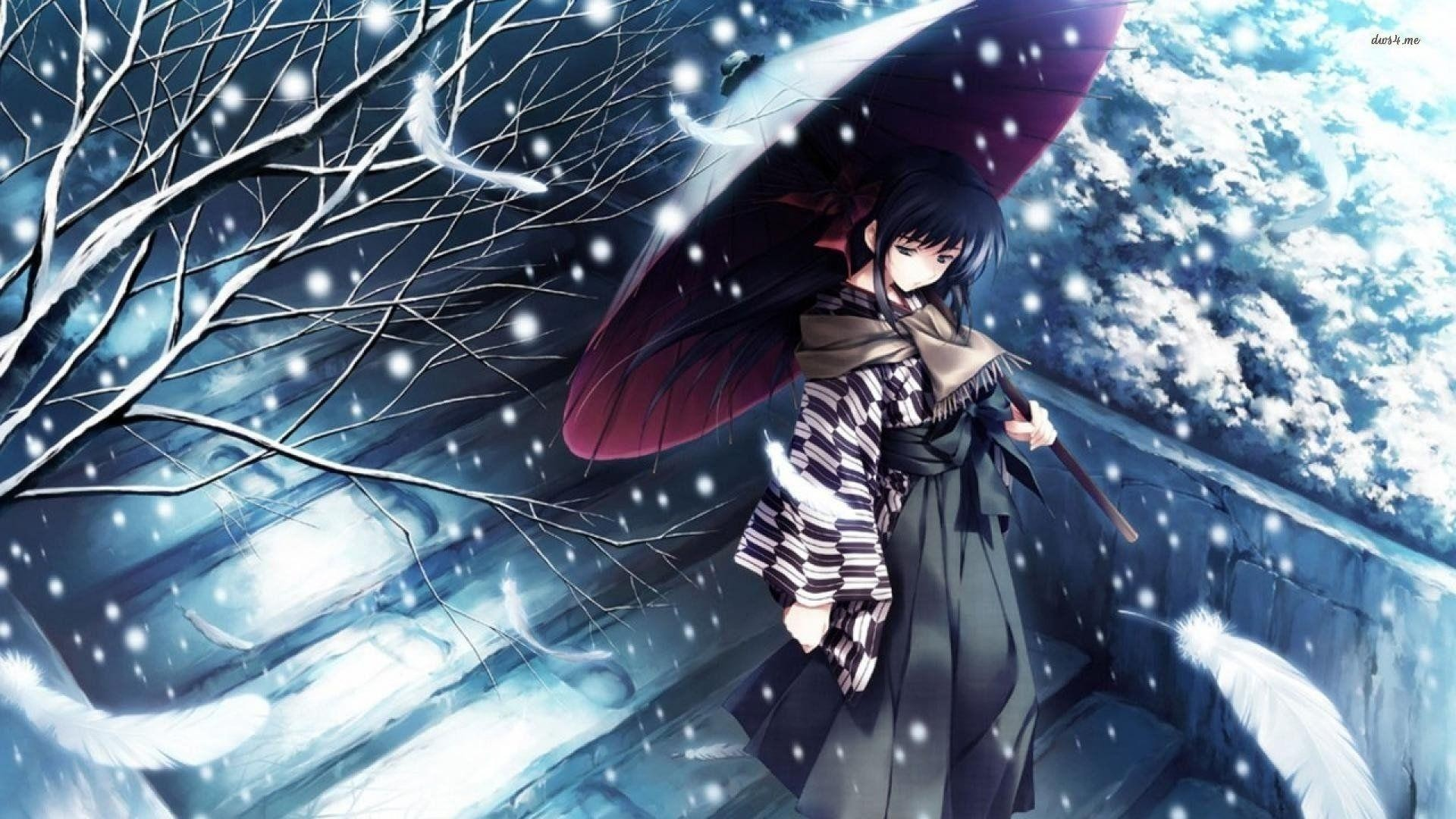Res: 1920x1080, New Anime Sad Girl Wallpaper Collection - Snow tree kimono girl alone sad  anime blue wallpaper