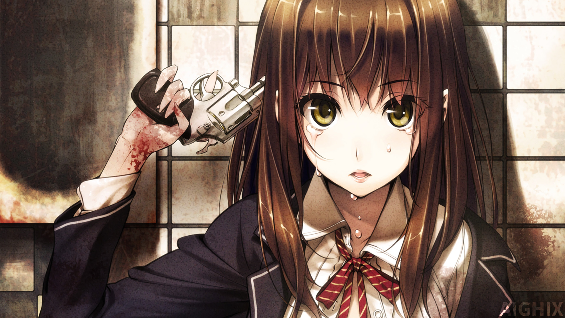 Res: 1920x1080, ... Sad Anime Girl With Gun Wallpaper by AIGHIX