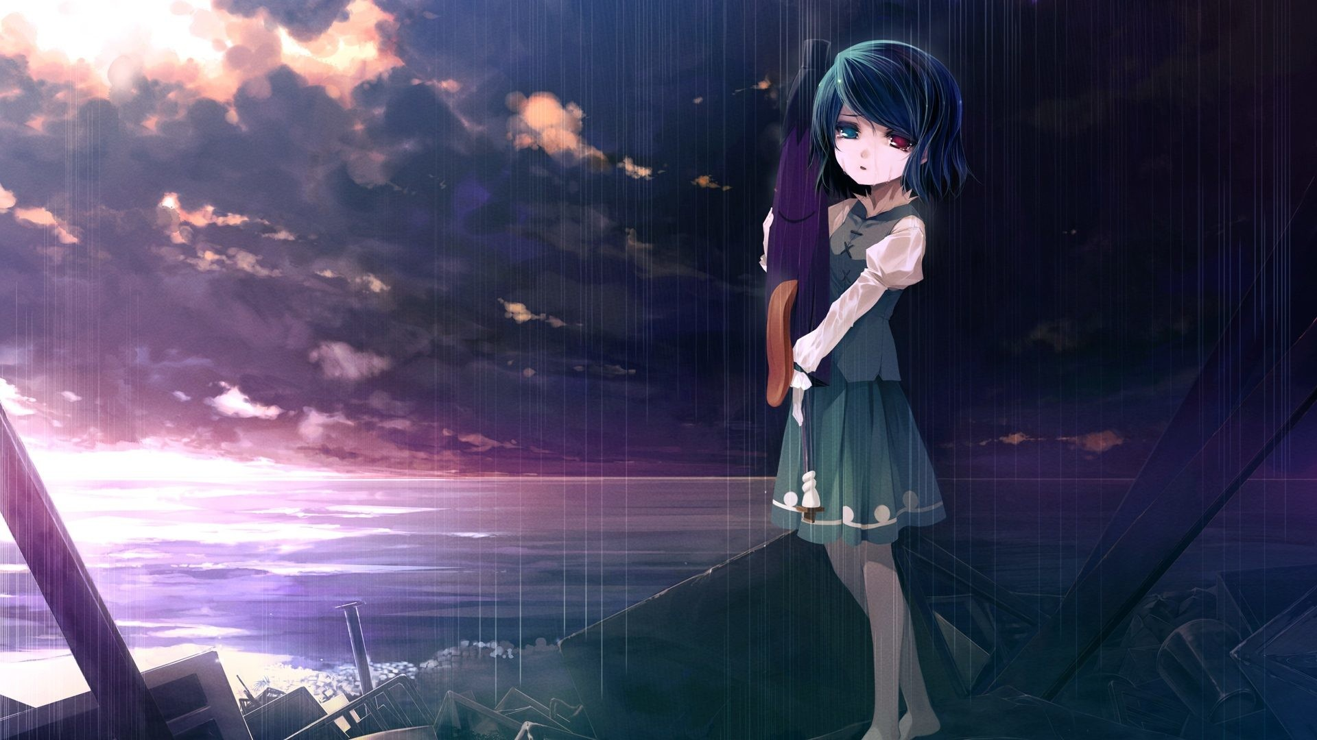 Res: 1920x1080, Download Anime HD Wallpapers Background Image girl sad sky sea debris  sunset 12049
