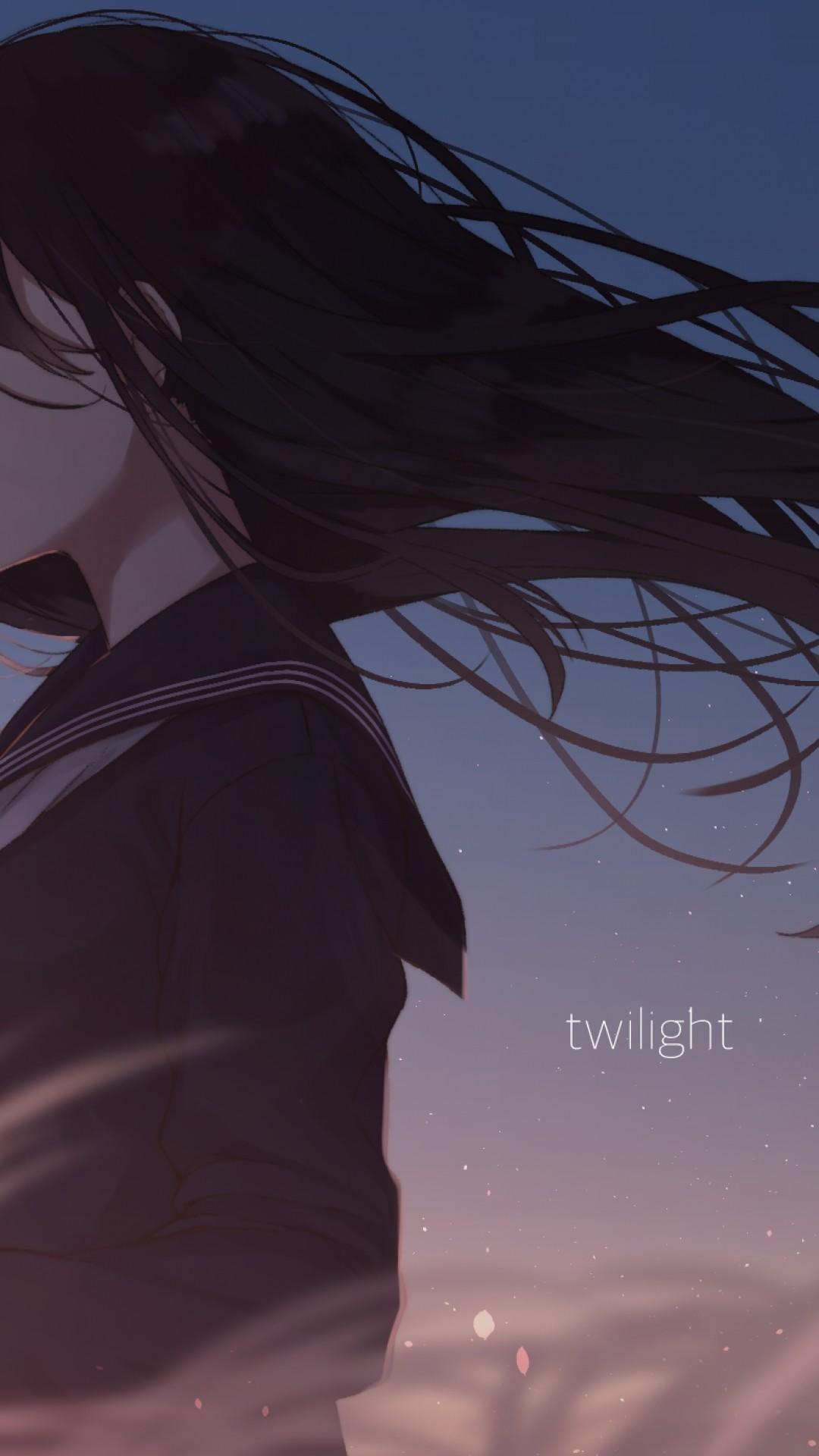 Res: 1080x1920, Best of Sad Anime iPhone Wallpapers Free - Anime Girl Sad School Uniform  Windy Black Hair