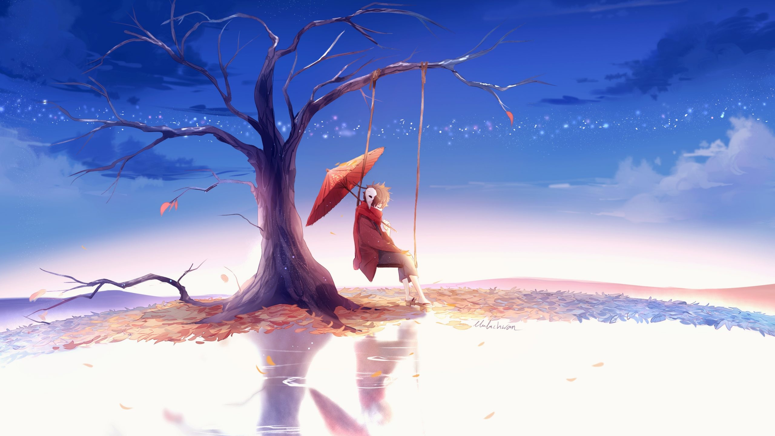 Res: 2560x1440, Sad Anime Painting Wallpaper