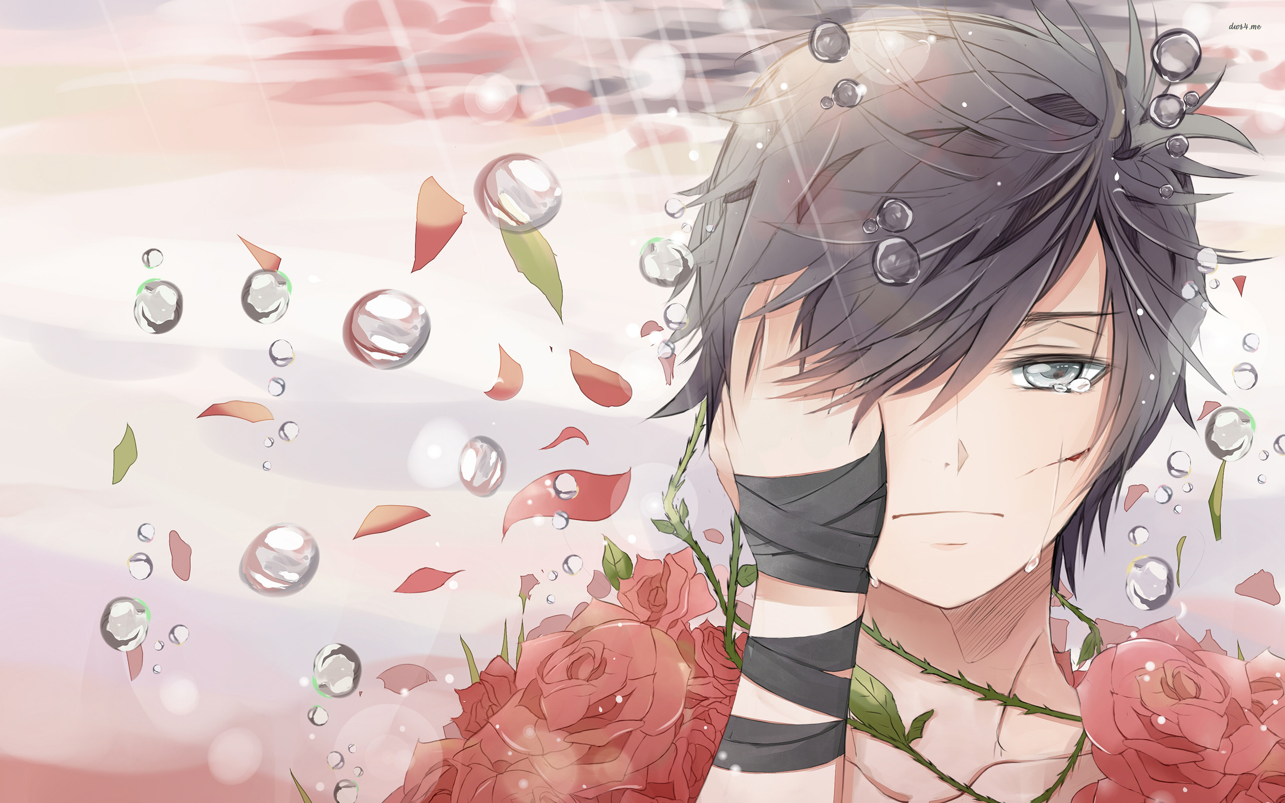 Res: 2560x1600, ... Sad boy covered in roses wallpaper  ...