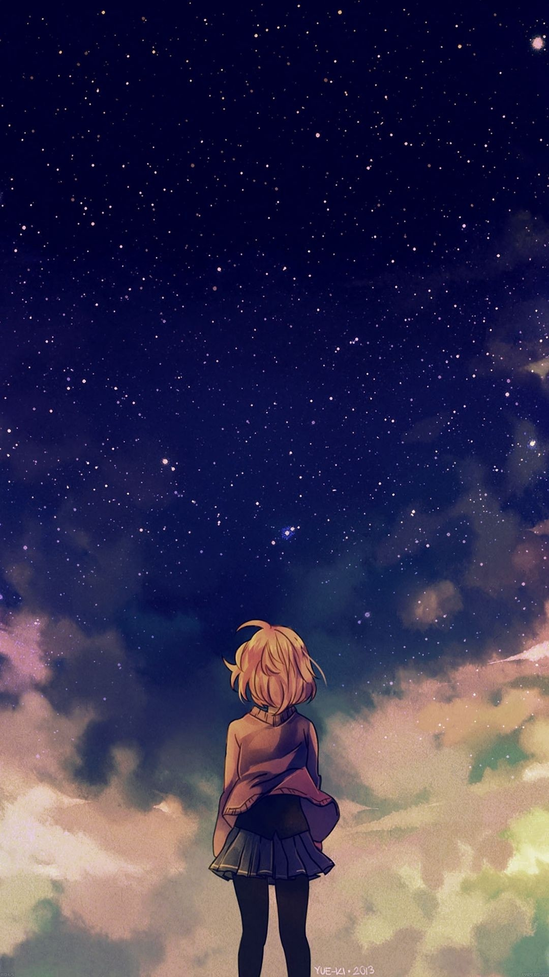 Res: 1080x1920, Best of Sad Anime Wallpaper iPhone Download - Starry Space Illust Anime  Girl iPhone 6 wallpaper