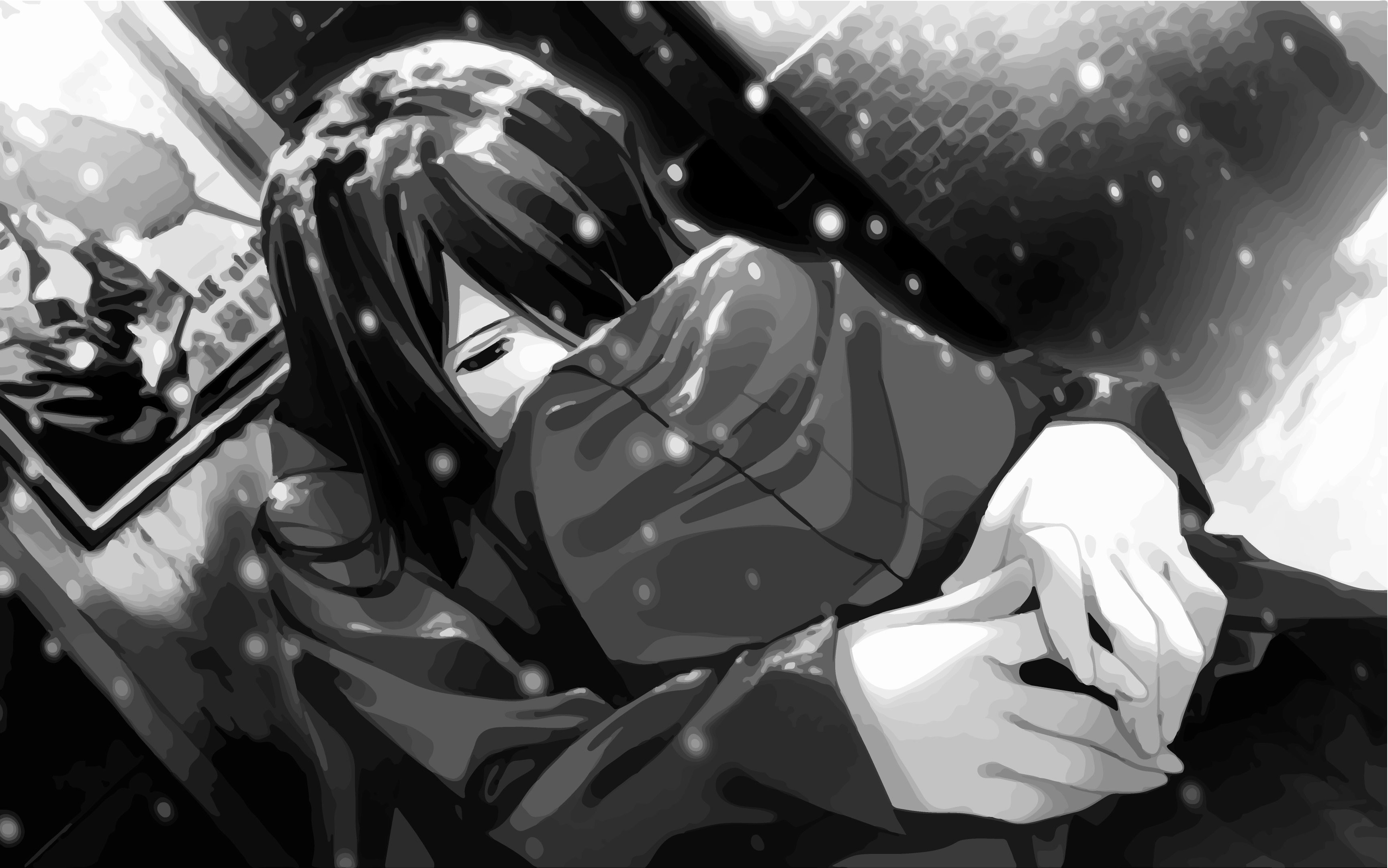 Res: 3455x2160, Black Wallpaper In Drawing Alone Girl Depressed Sad Anime Girl Crying  Drawing And Pictures | Sadever