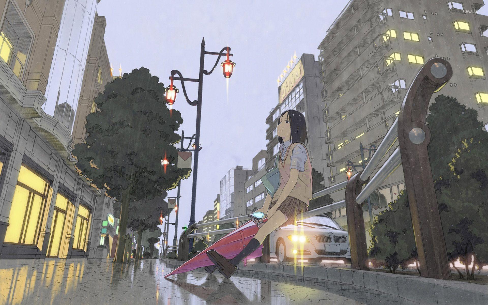 Res: 1920x1200, Sad schoolgirl in the rain wallpaper