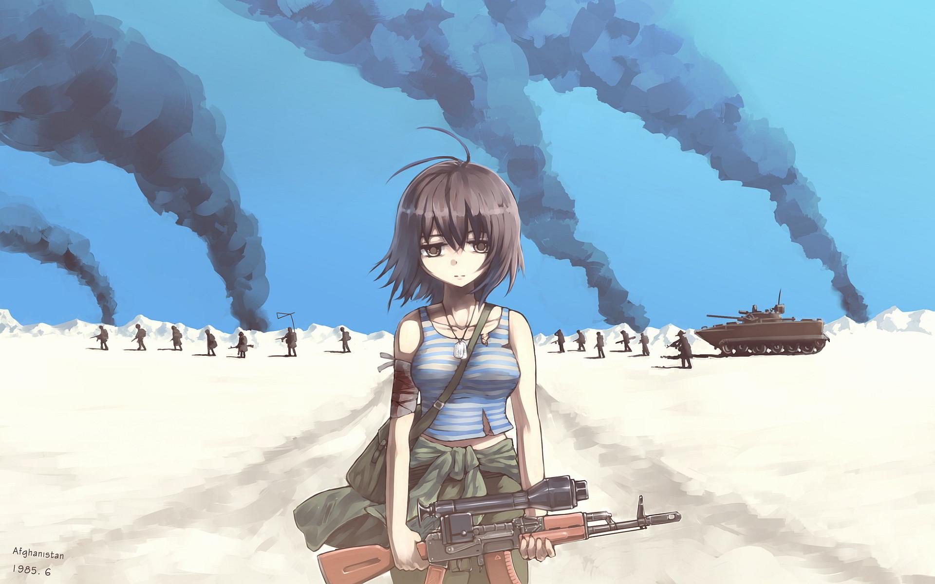 Res: 1920x1200,  Sad army girl