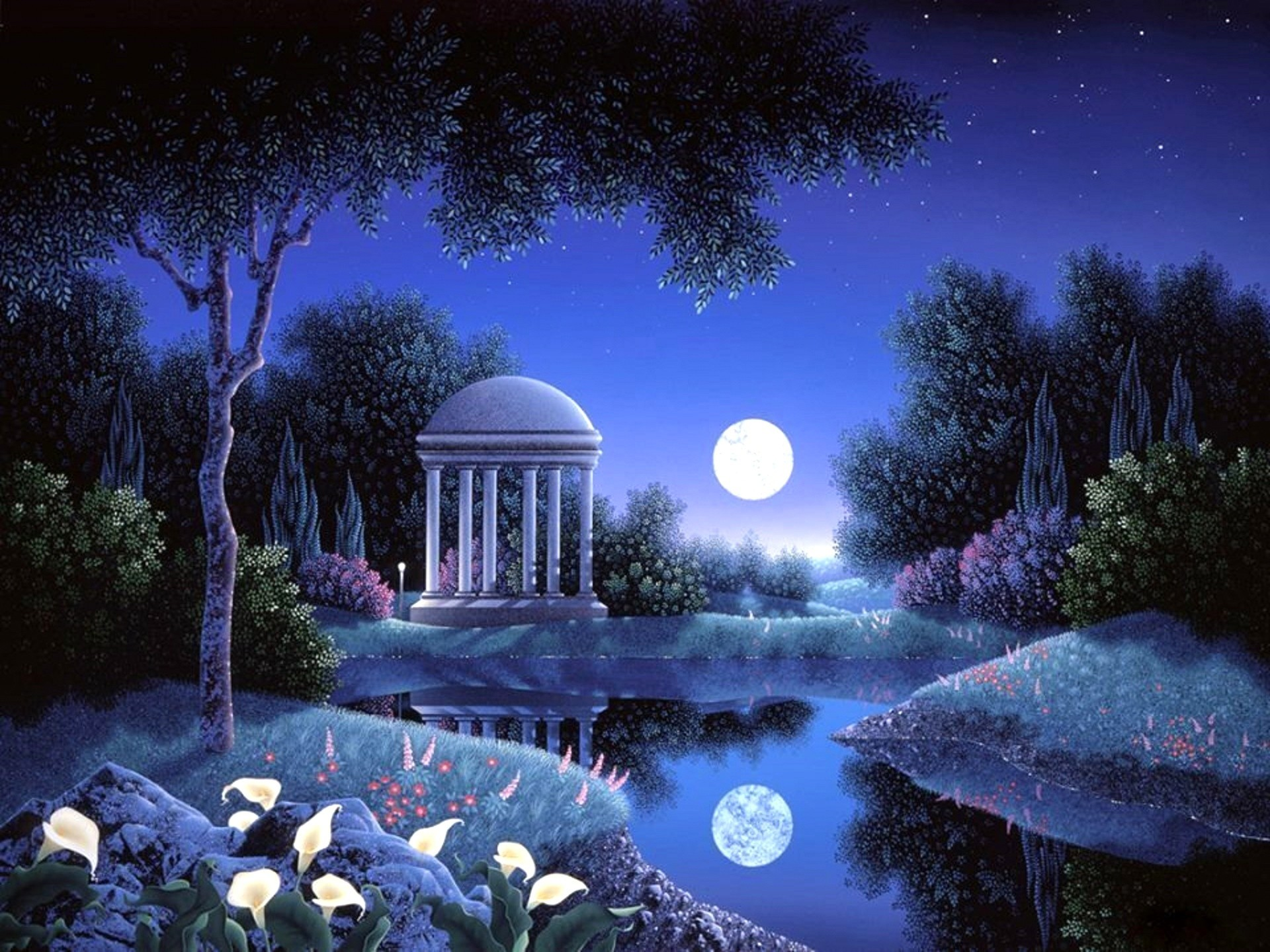 Res: 1920x1440, Nature Cool Reflections Love Dreams Attractions Four Moons Creative Scenery  Summer Paintings Bright Flowers Blue Seasons