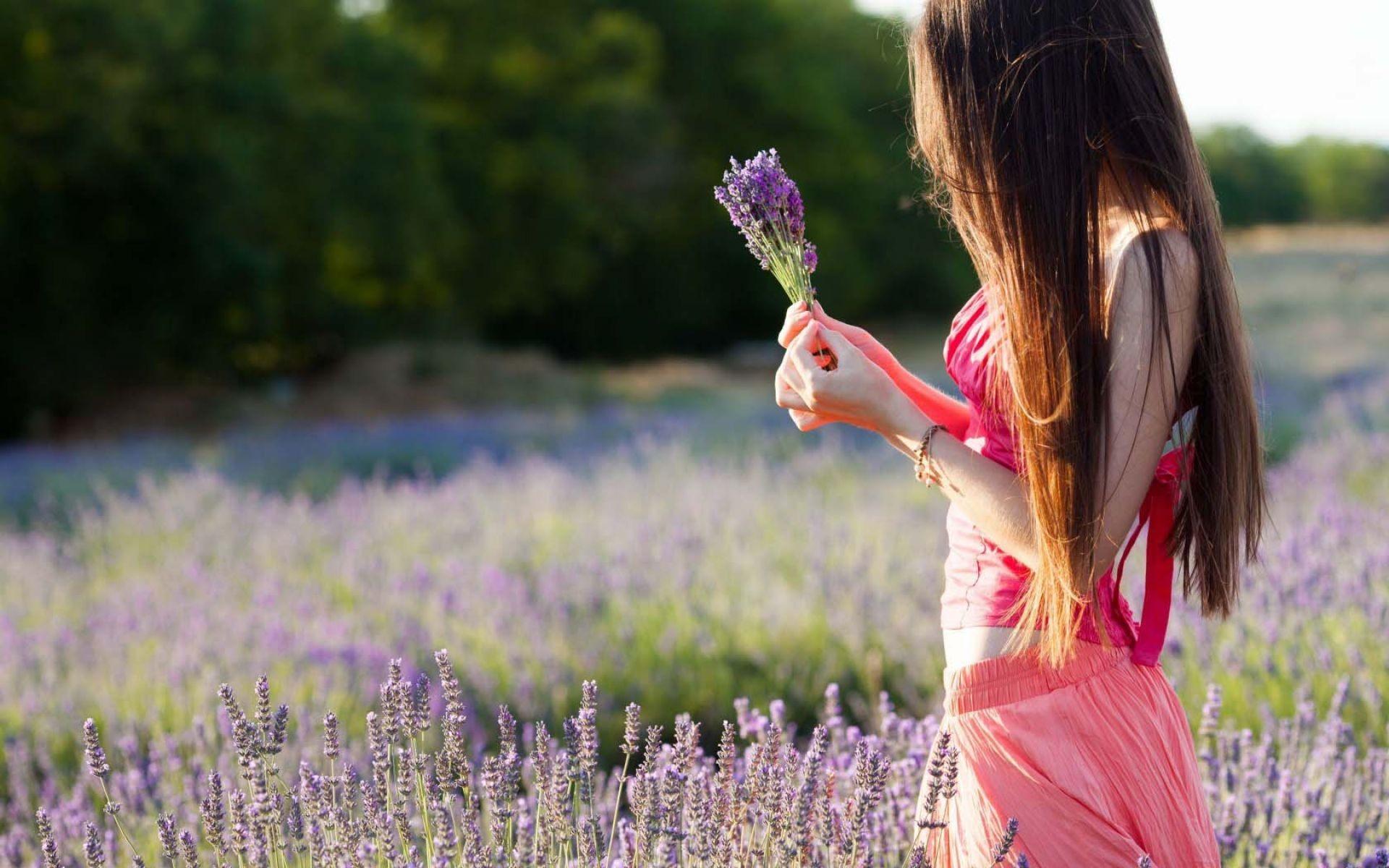 Res: 1920x1200, Mood Girl Field Flowers Purple Nature Wallpaper | HD Love Wallpaper Free  Download ...