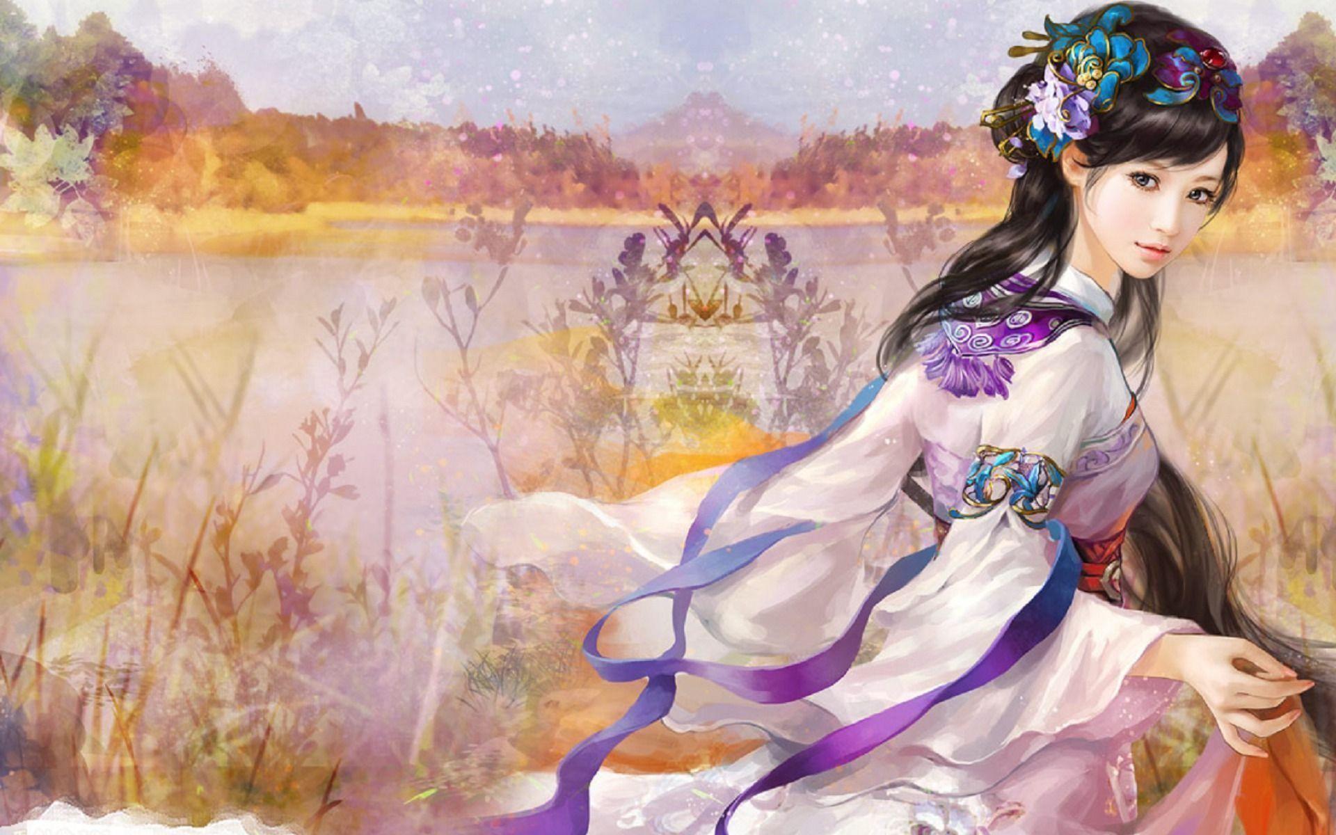 Res: 1920x1200,  Woman Black Hair Jewel Kimono desktop PC and Mac wallpaper