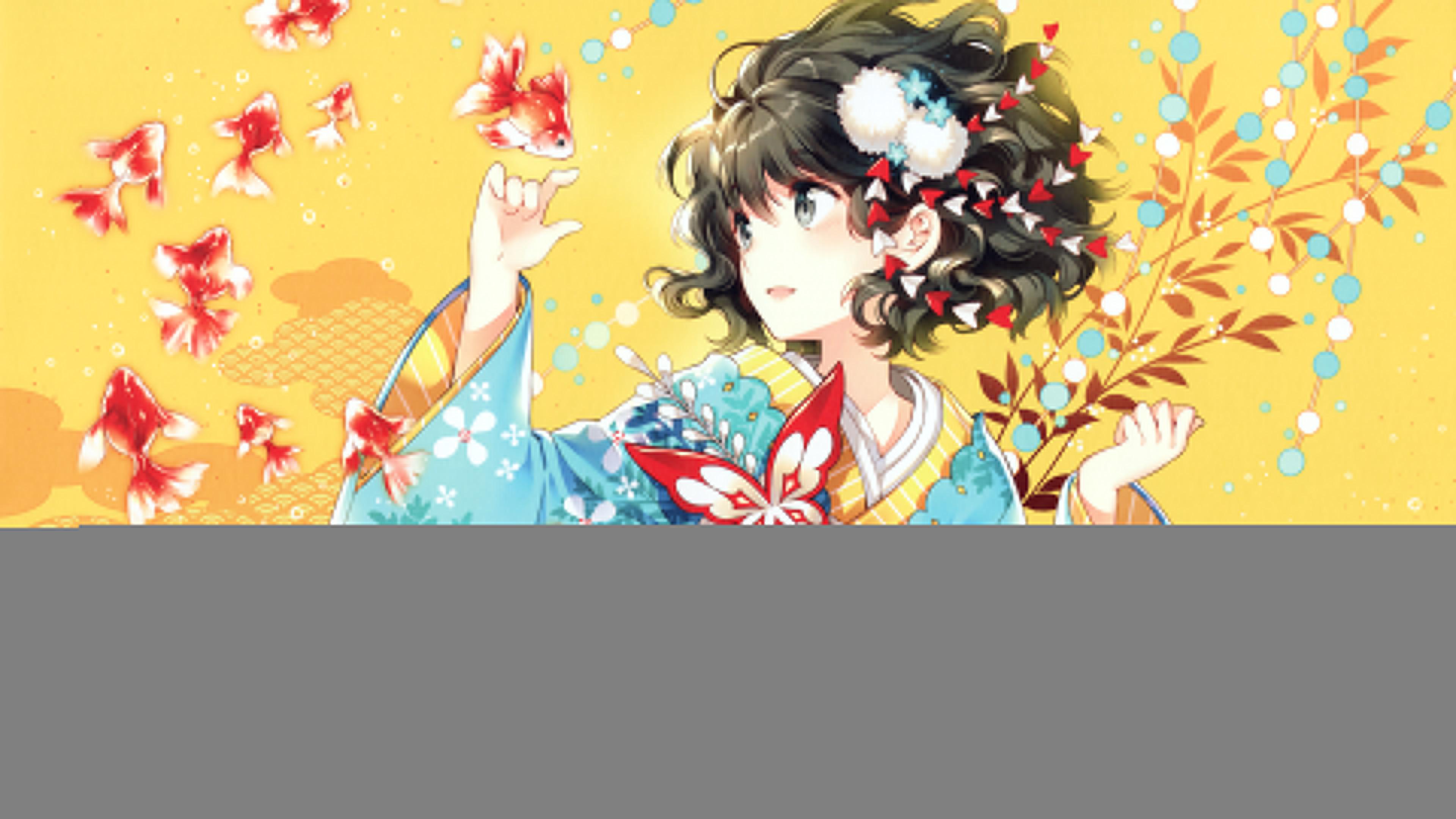 Res: 3840x2160, Kimono Anime Girl 4K