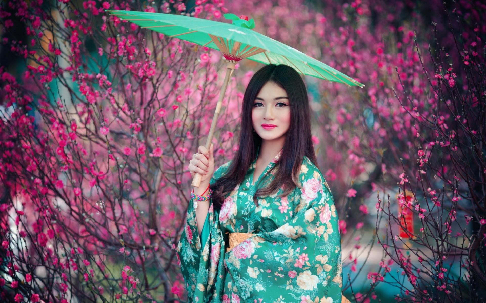 Res: 1920x1200, Frauen - Asiatinnen Kimono Regenschirm Wallpaper