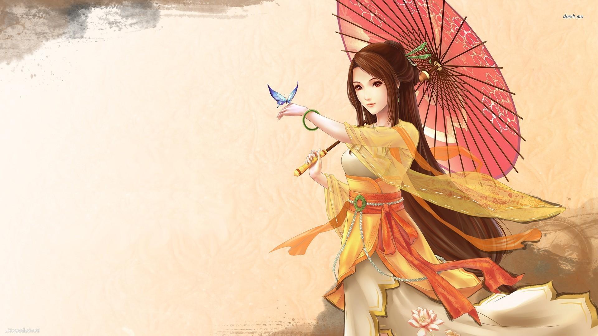 Res: 1920x1080, ... Girl in a kimono wallpaper  ...