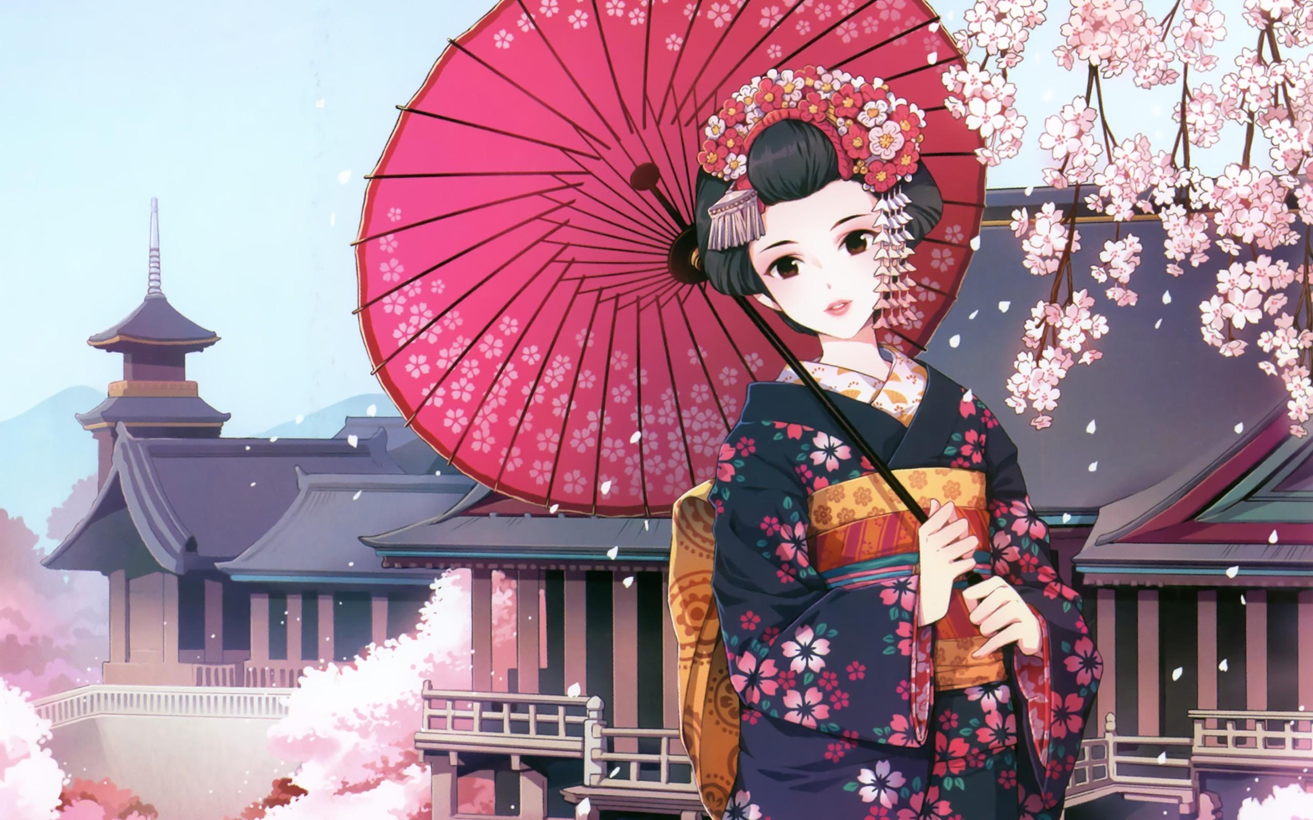 Res: 2560x1600, Cherry blossoms flowers kimono umbrellas flower petals japanese clothes  anime girls black hair nardack (artist) wallpaper |  | 16284 |  WallpaperUP