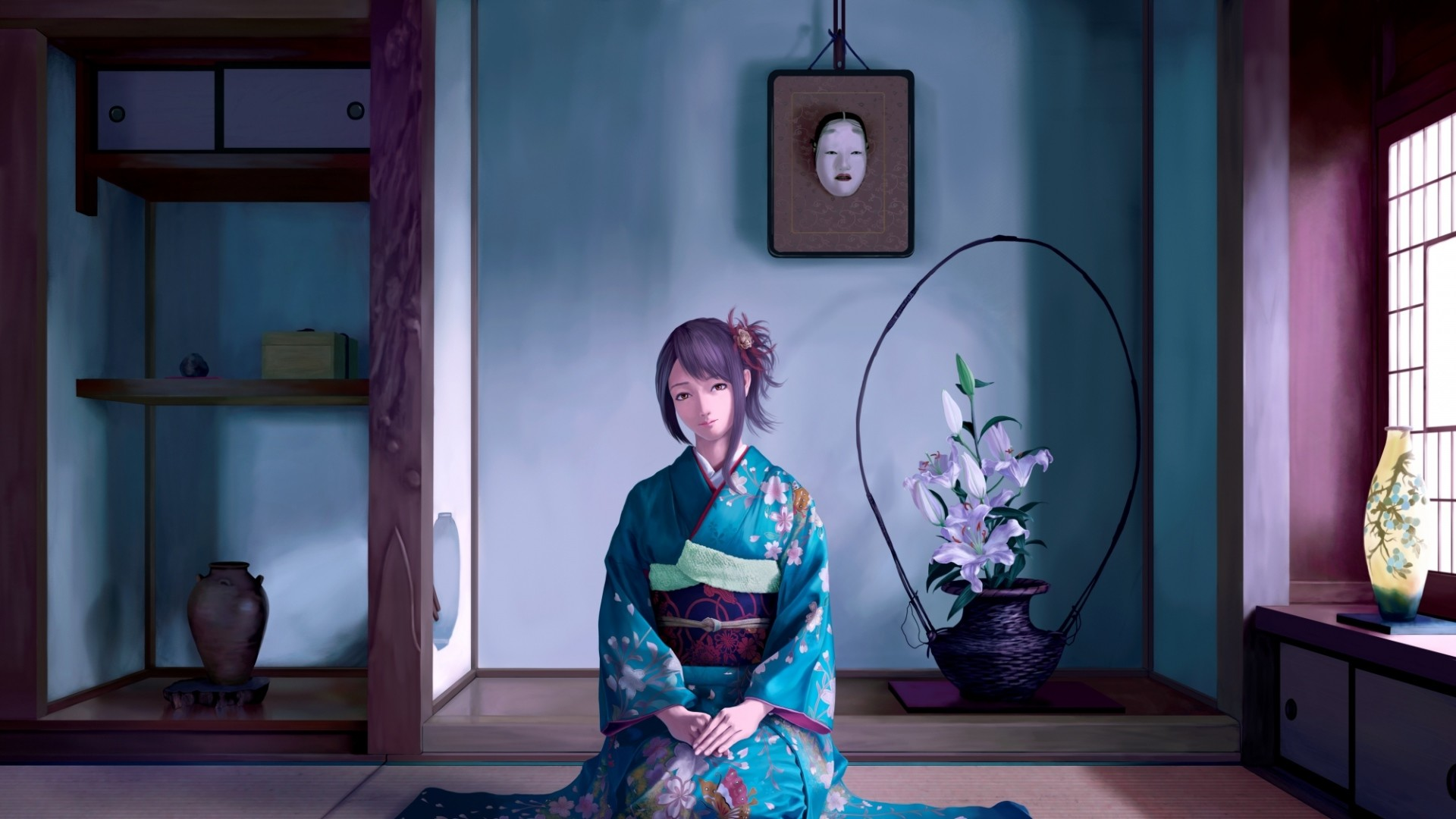Res: 1920x1080, Download now full hd wallpaper kimono sad sight room ...