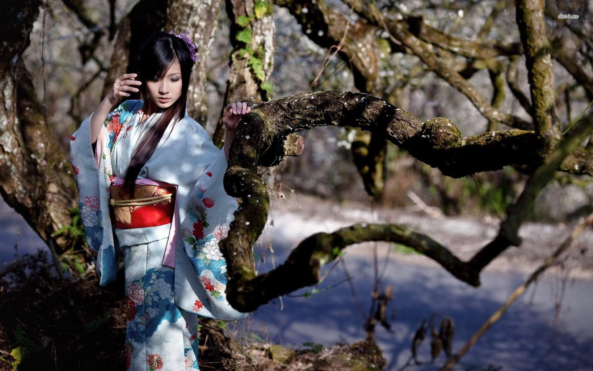 Res: 1920x1200, ... Girl on a tree in a kimono