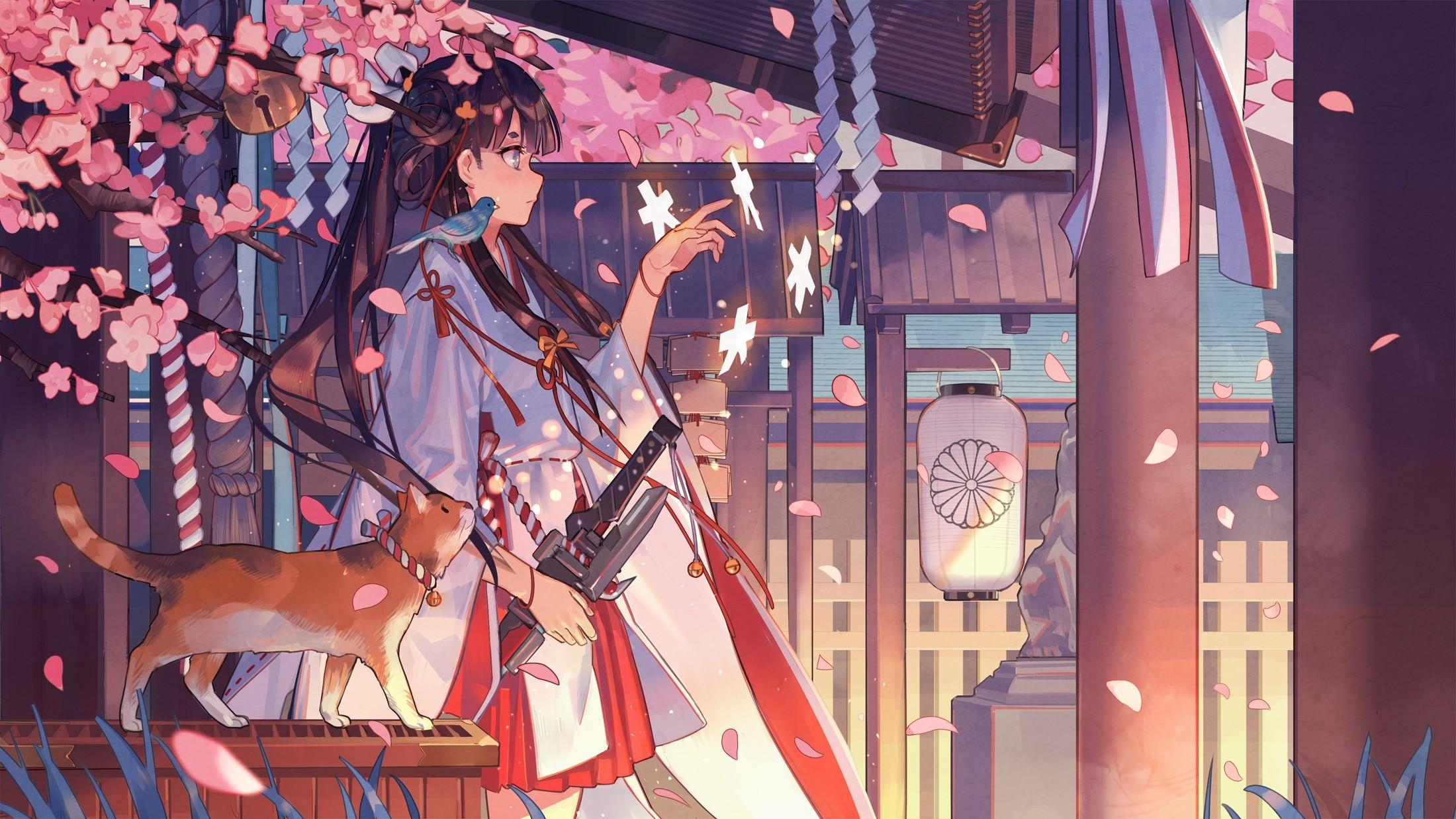 Res: 2200x1237, cherry-blossom-sakura-tree-schoolgirl-petals-japan-shinkai- · kimono  wallpapers | WallpaperUP
