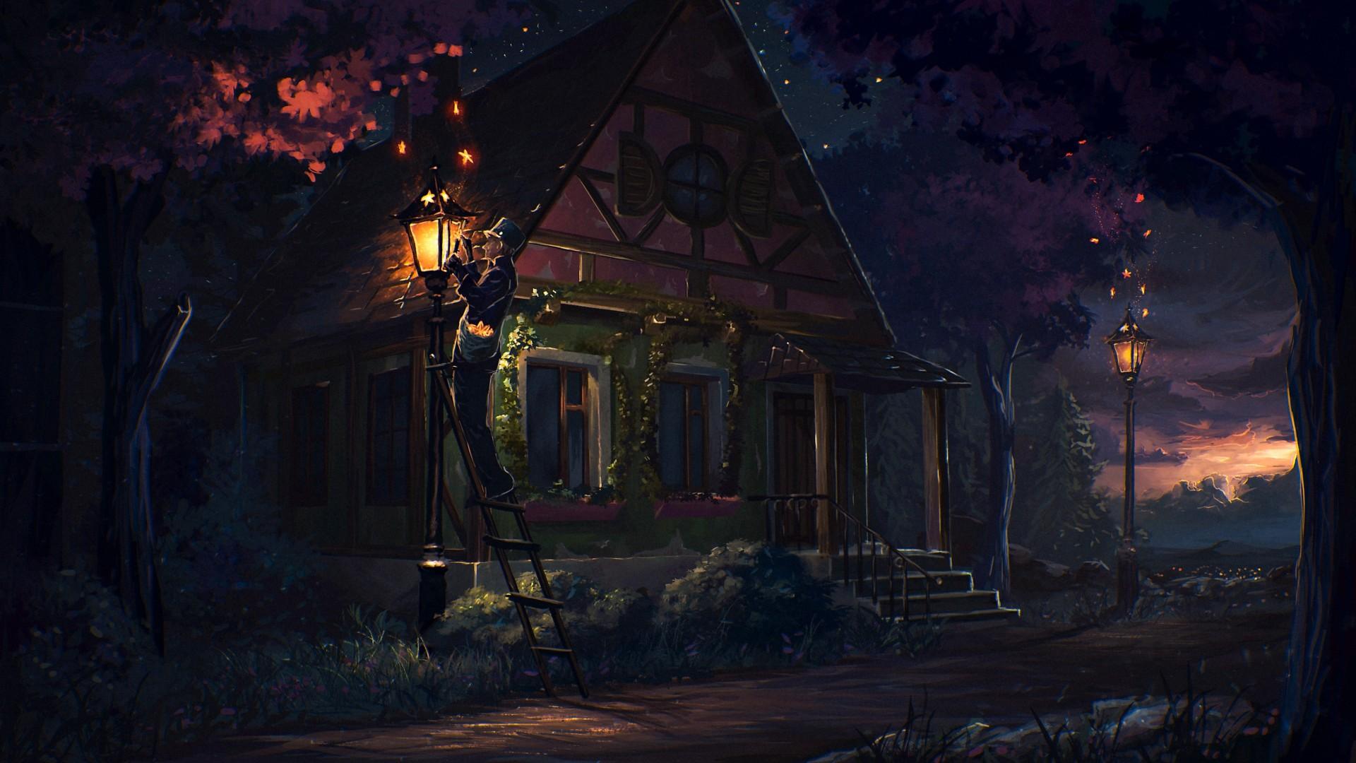Res: 1920x1080, Fairy Tale House Light in Night Beautiful Desktop Wallpaper