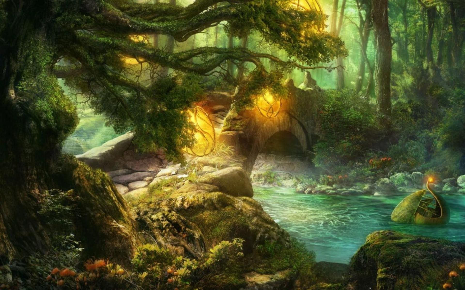 Res: 1920x1200, Stone bridge in fairytale forest wallpaper 5332