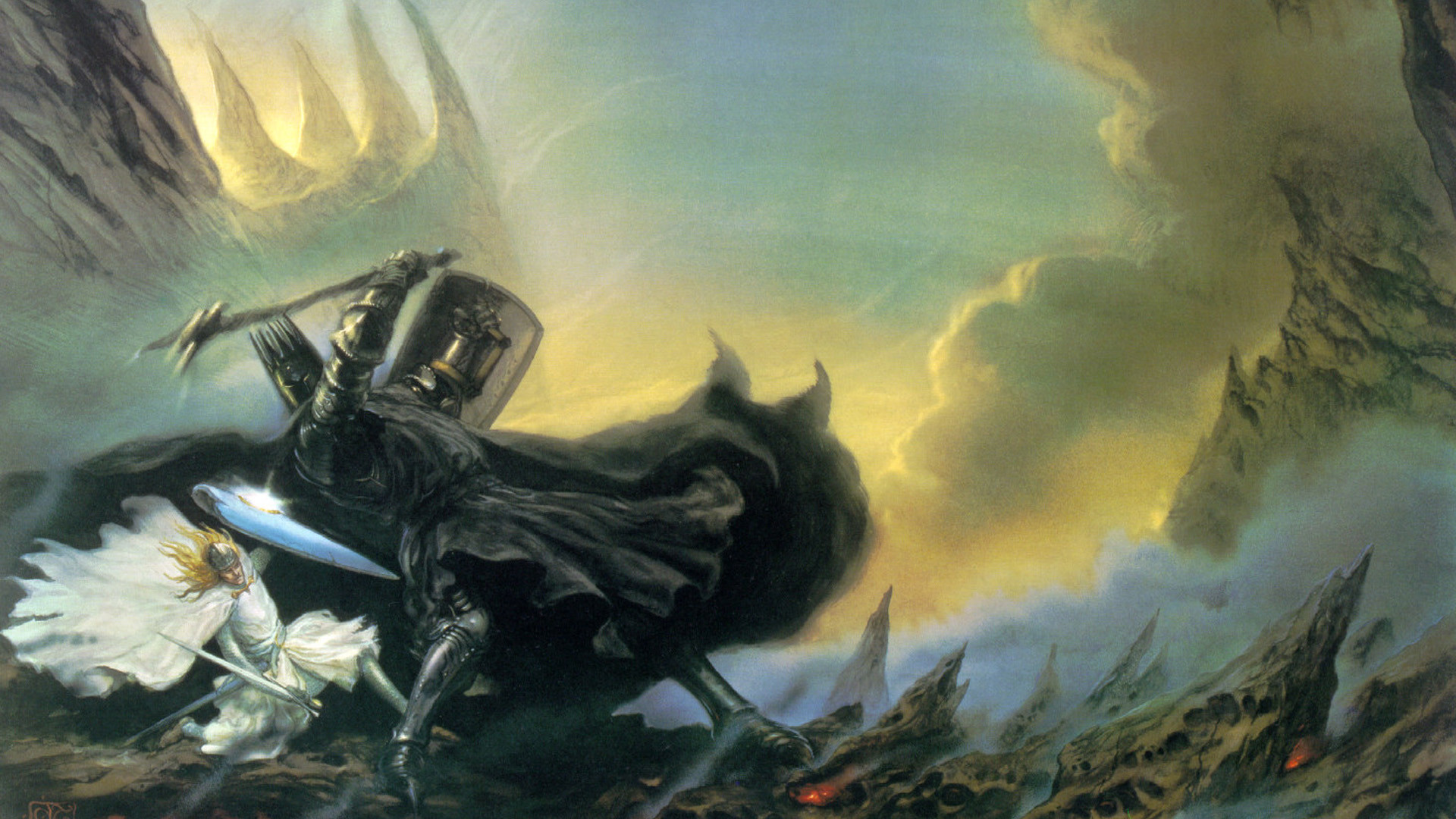 Res: 1920x1080, J. R. R. Tolkien, The Silmarillion, Morgoth, Fantasy Art, John Howe