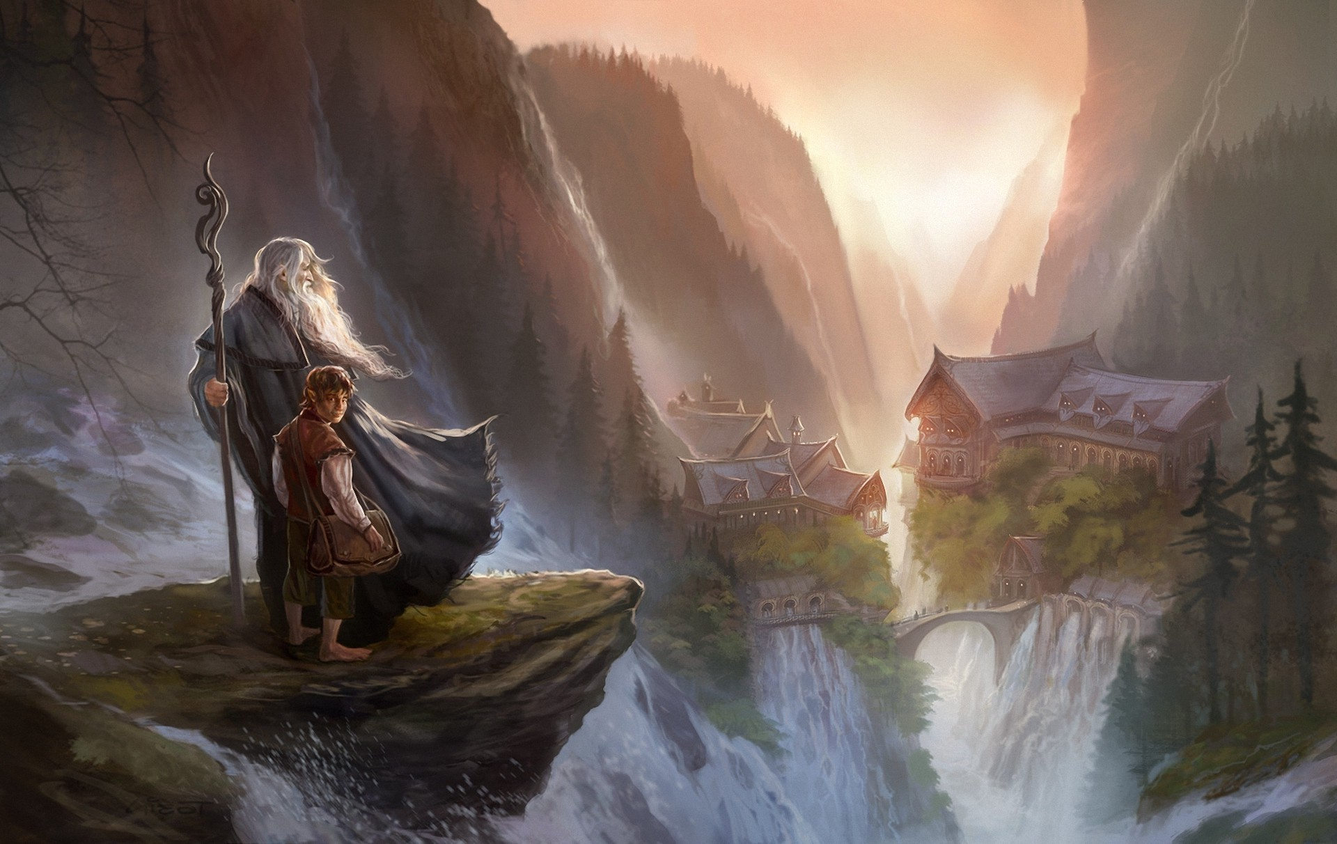 Res: 1920x1212, fantasy art digital art the lord of the rings the hobbit gandalf bilbo  baggins rivendell wallpaper and background