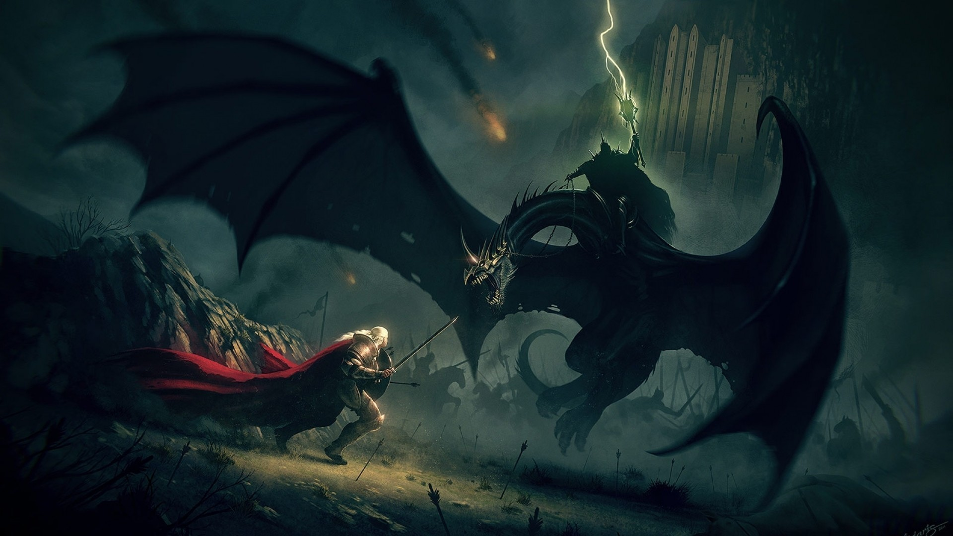 Res: 1920x1080, fantasy art, The Lord of the Rings, Witchking of Angmar, Nazgl, owyn
