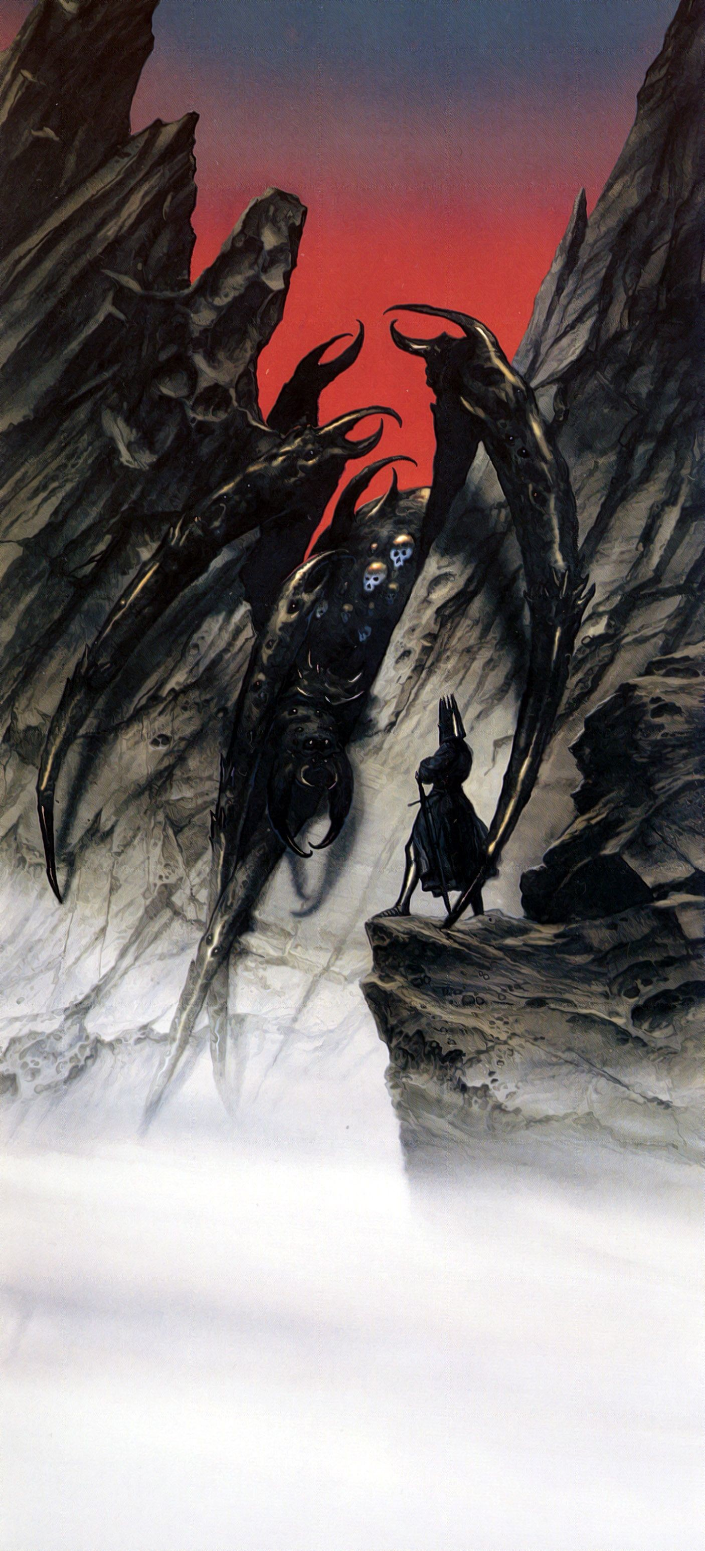 Res: 1406x3092, The Lord of the Rings - John Howe Art - Morgoth speaks to the Ungoliant