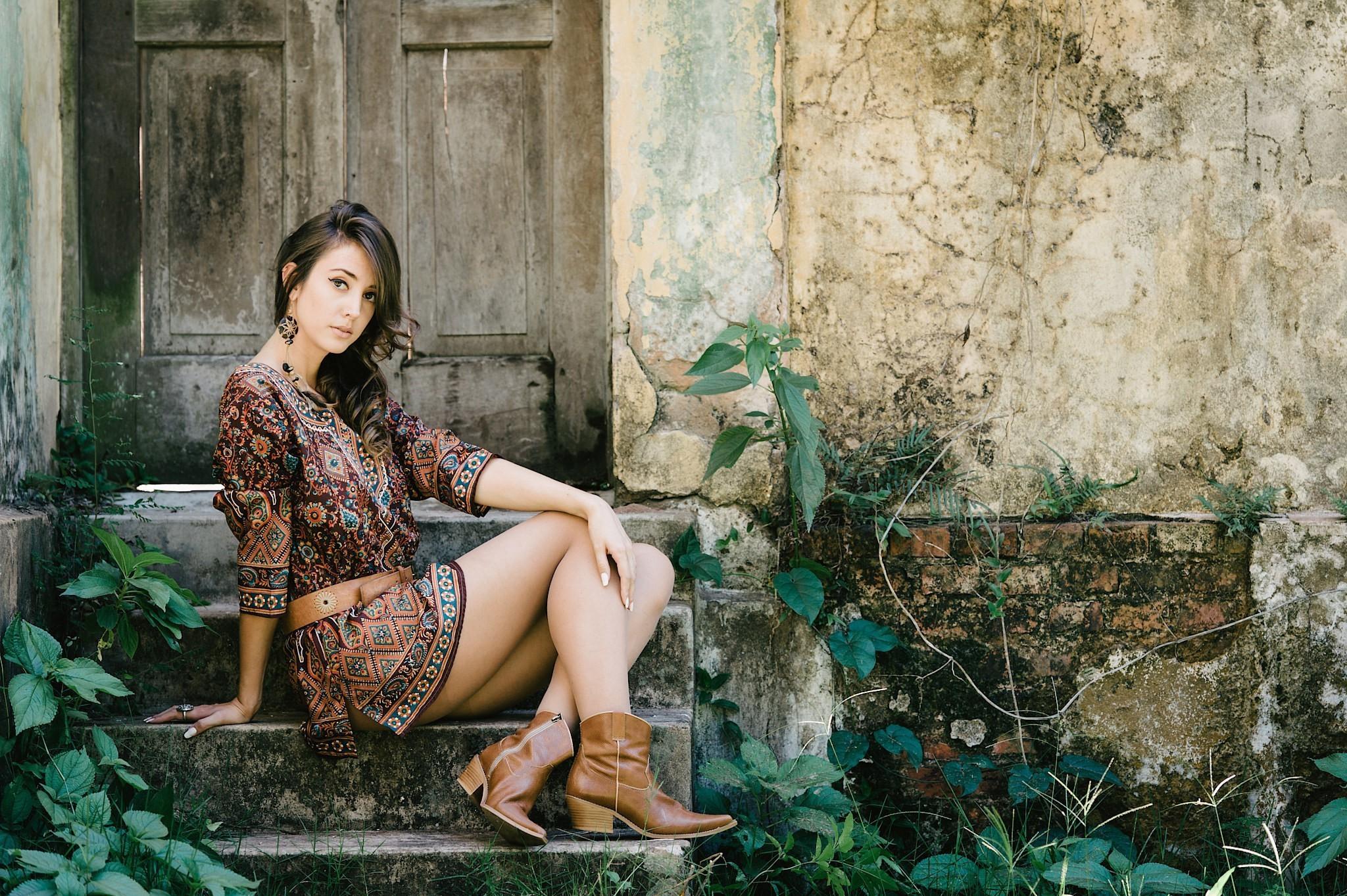 Res: 2048x1363, model, Boots, Dress, Women, Brunette, Women Outdoors, Door. Charlize  Theron, Aeon Flux ...