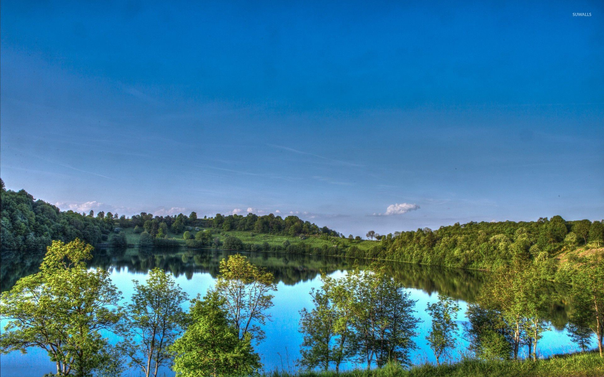 Res: 1920x1200, Sunny day above the lake wallpaper  jpg