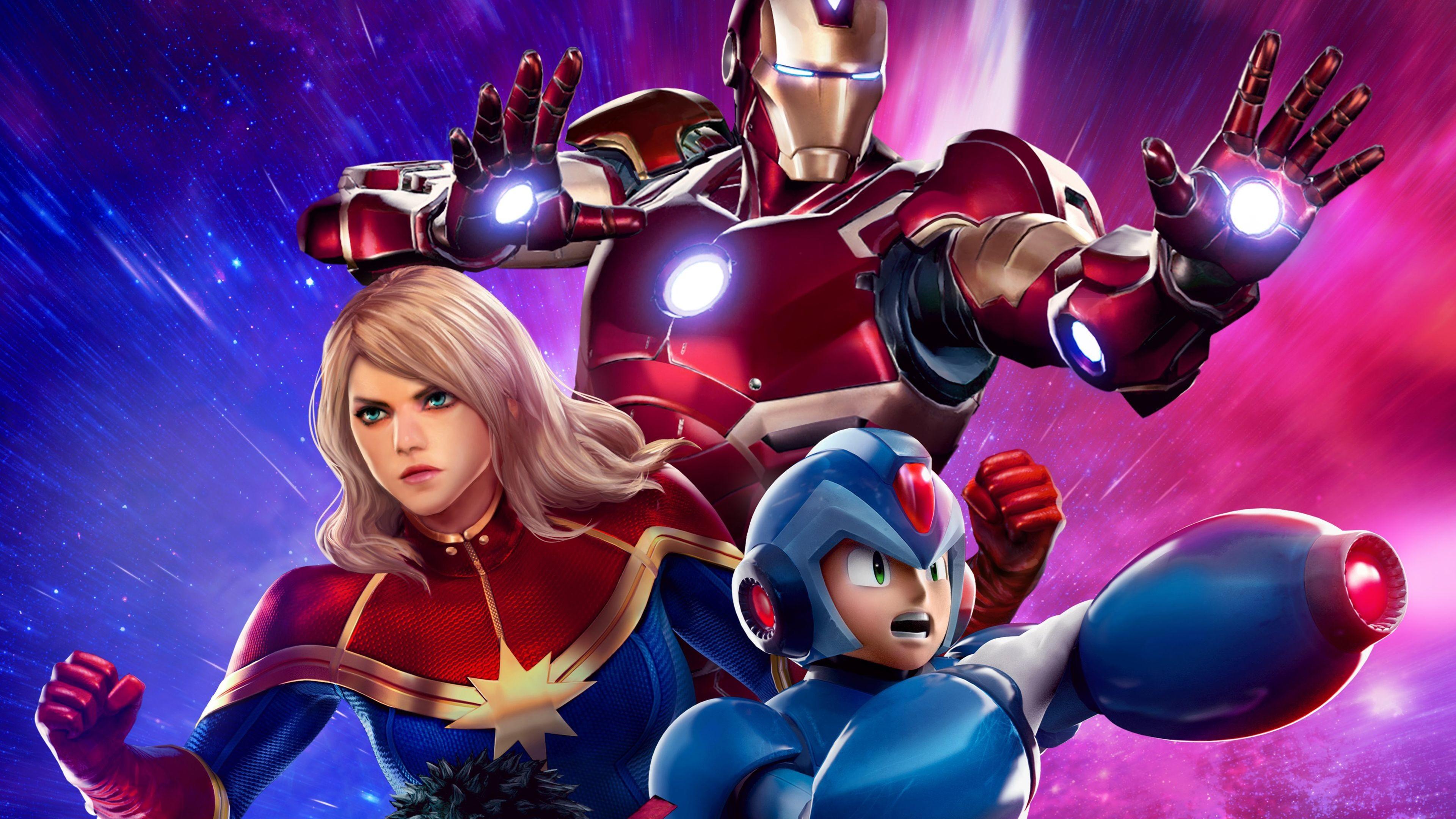 Res: 3840x2160, Awesome Iron Man Captain Marvel Mega Man 4K Marvel vs. Capcom: Infinite  wallpaper