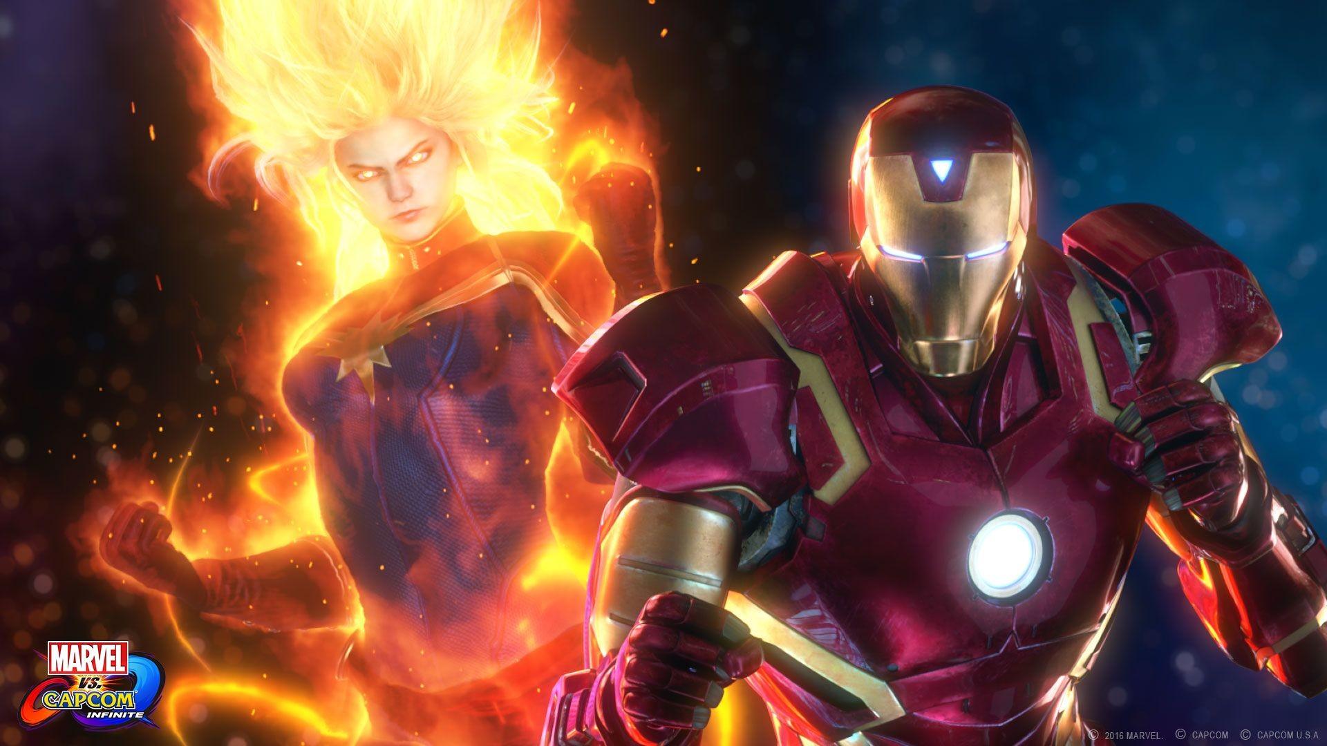 Res: 1920x1080, Nice Captain Marvel and Iron Man Marvel vs. Capcom: Infinite wallpaper