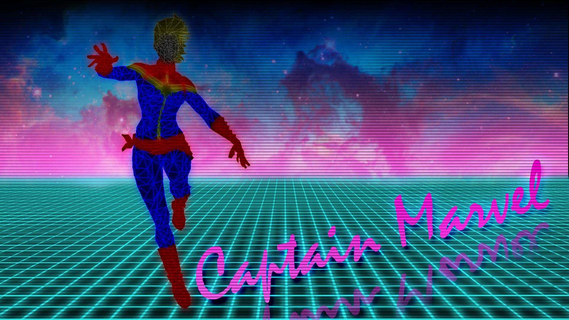 Res: 1920x1080, 80s Neon Style Captain Marvel Wallpaper ...