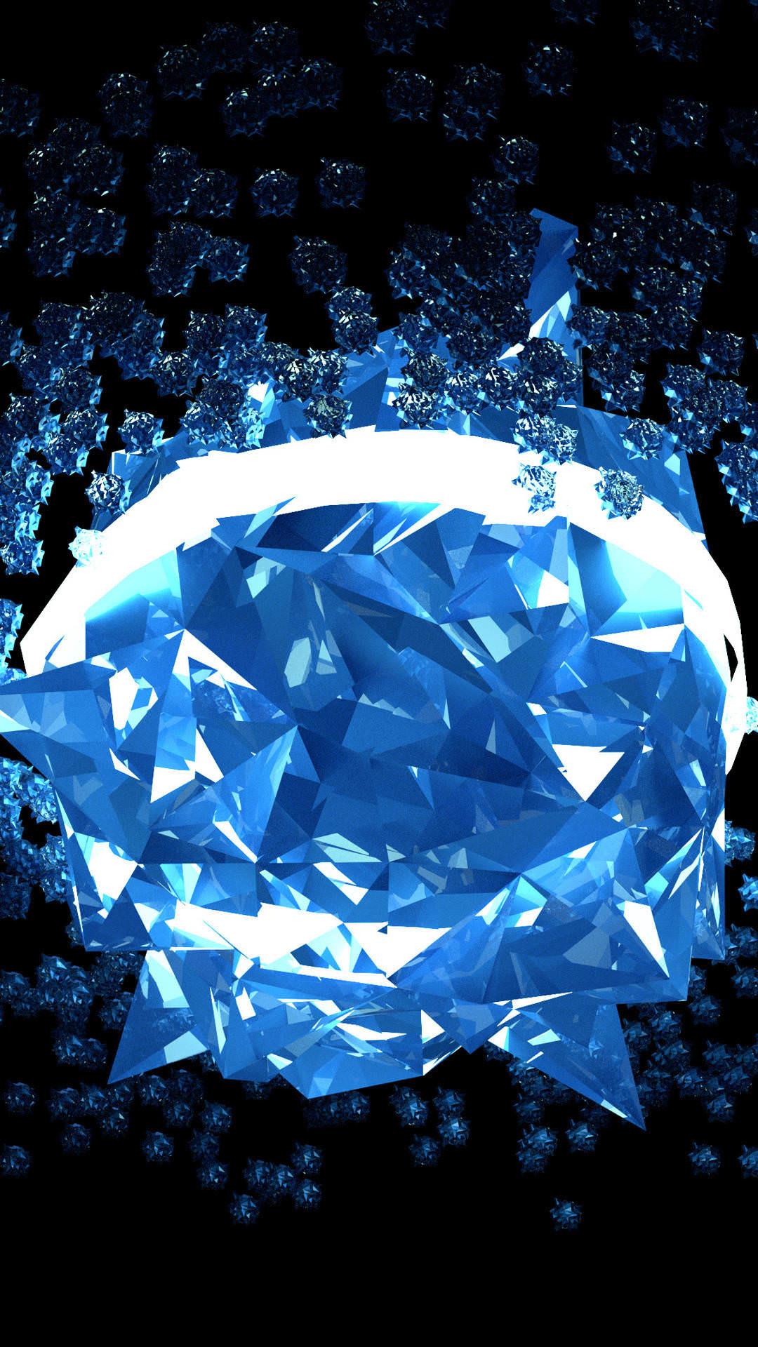 Res: 1080x1920, Blue Crystal Diamond Wallpaper