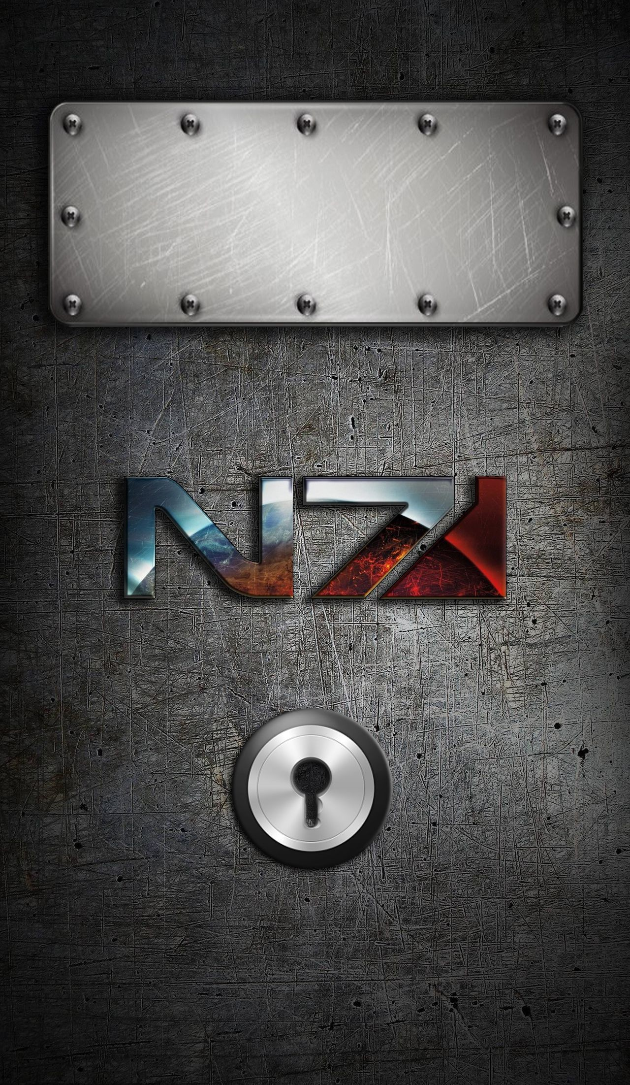Res: 1280x2203, Mass Effect N7 IPhone Locked Wallpaper