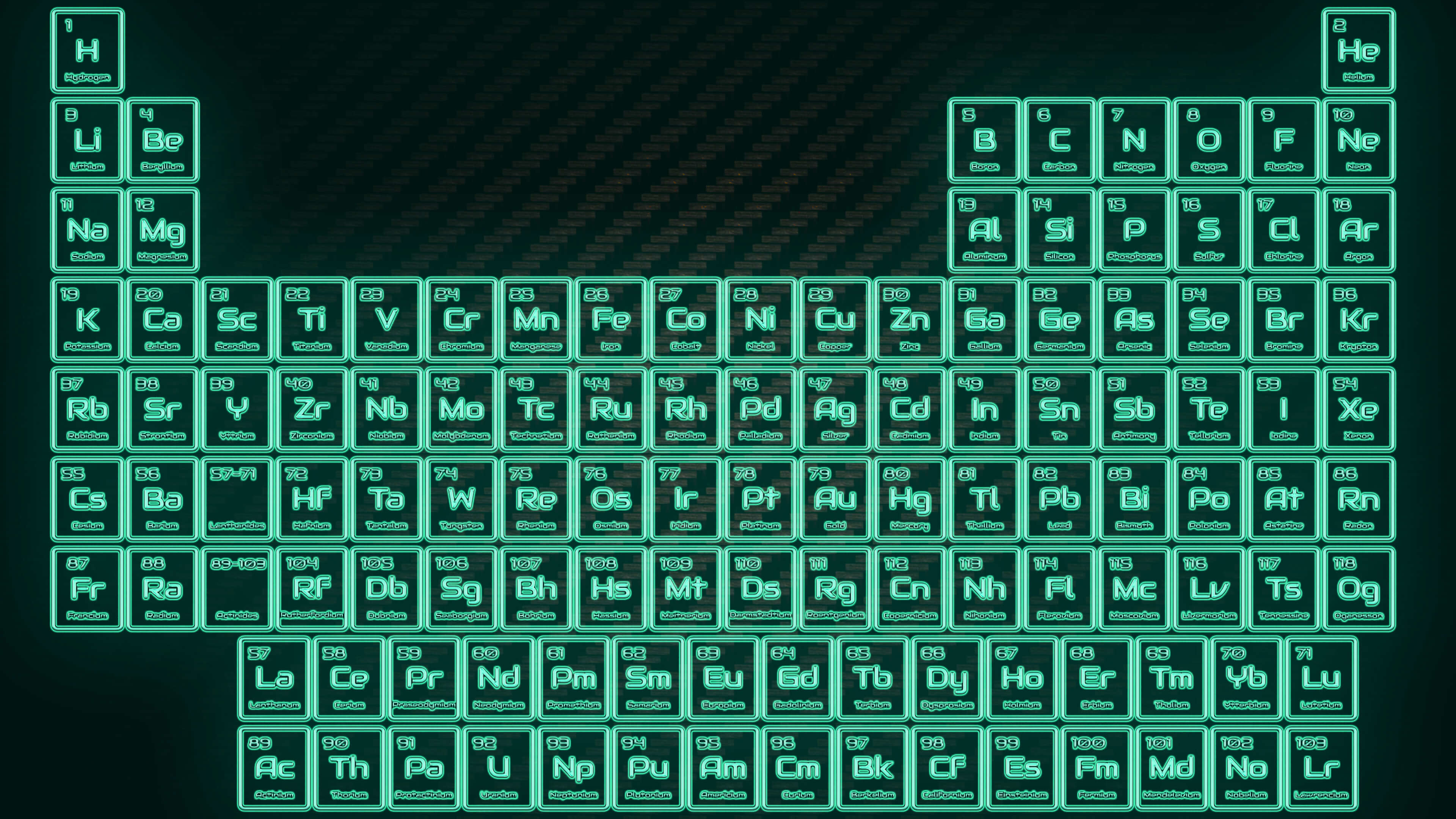 Res: 3840x2160, Tritium Neon Glowing Tube Periodic Table Wallpaper