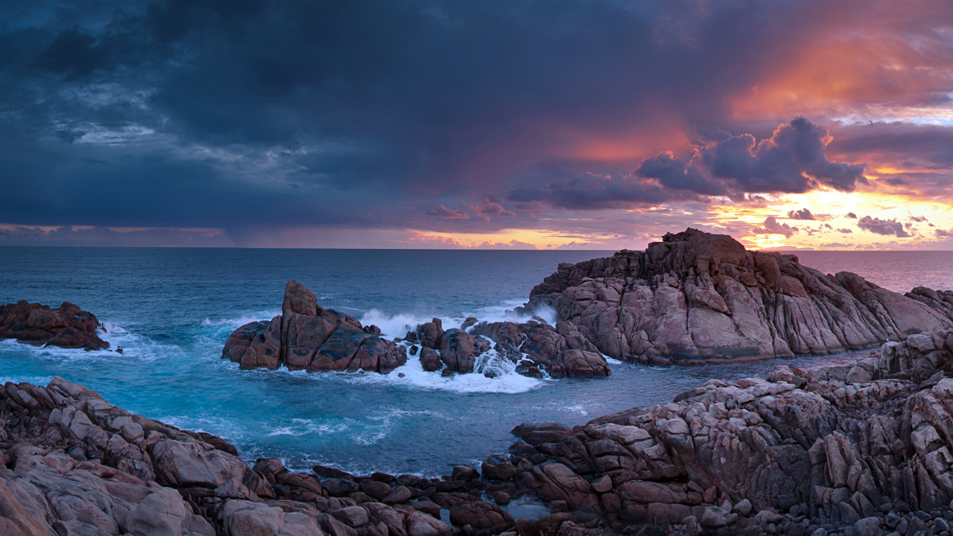 Res: 1920x1080, Sunset Time Canal Rocks Western Australia Wallpaper